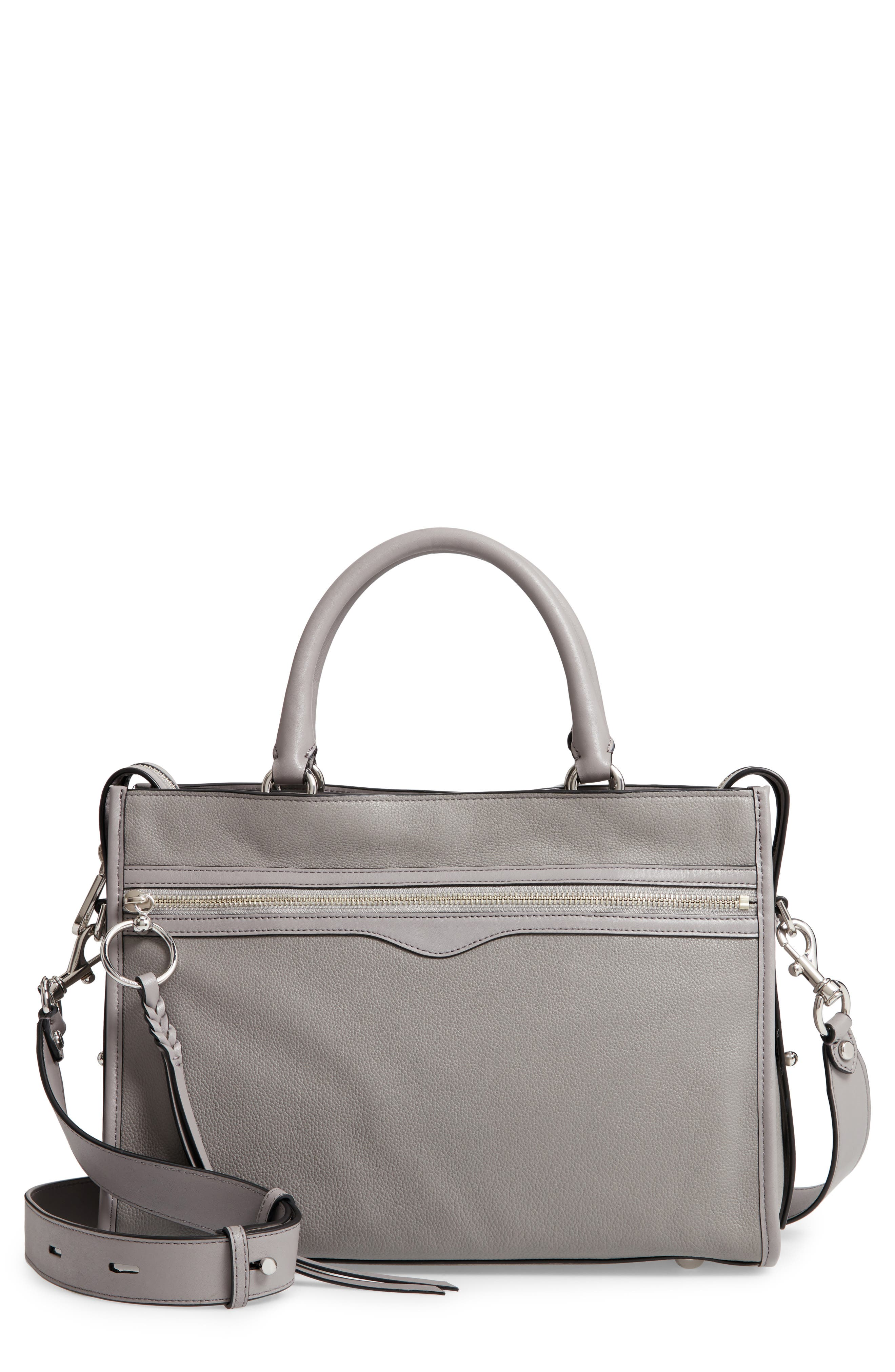 REBECCA MINKOFF Bedford Zip Leather Satchel, Main, color, GREY