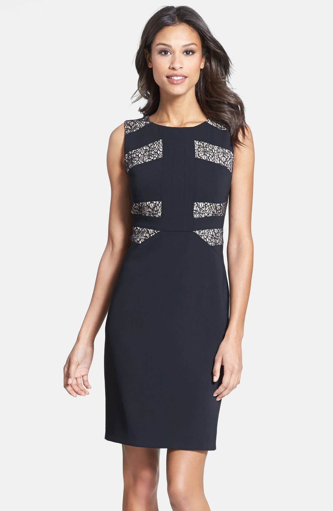 Lace Inset Crepe Sheath Dress,                         Main,                         color, 001