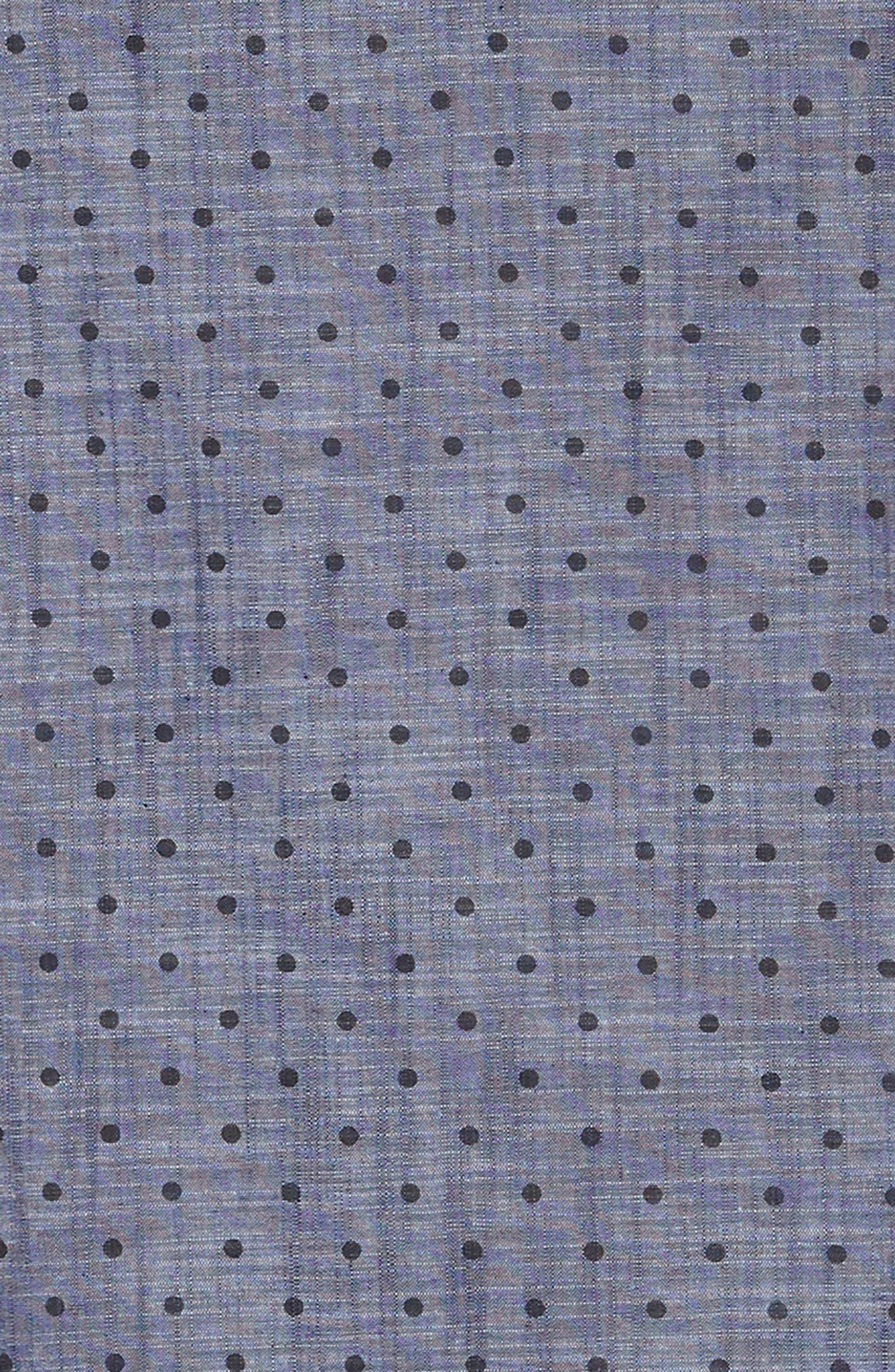 ruffle dot chambray dress,                             Alternate thumbnail 3, color,                             404