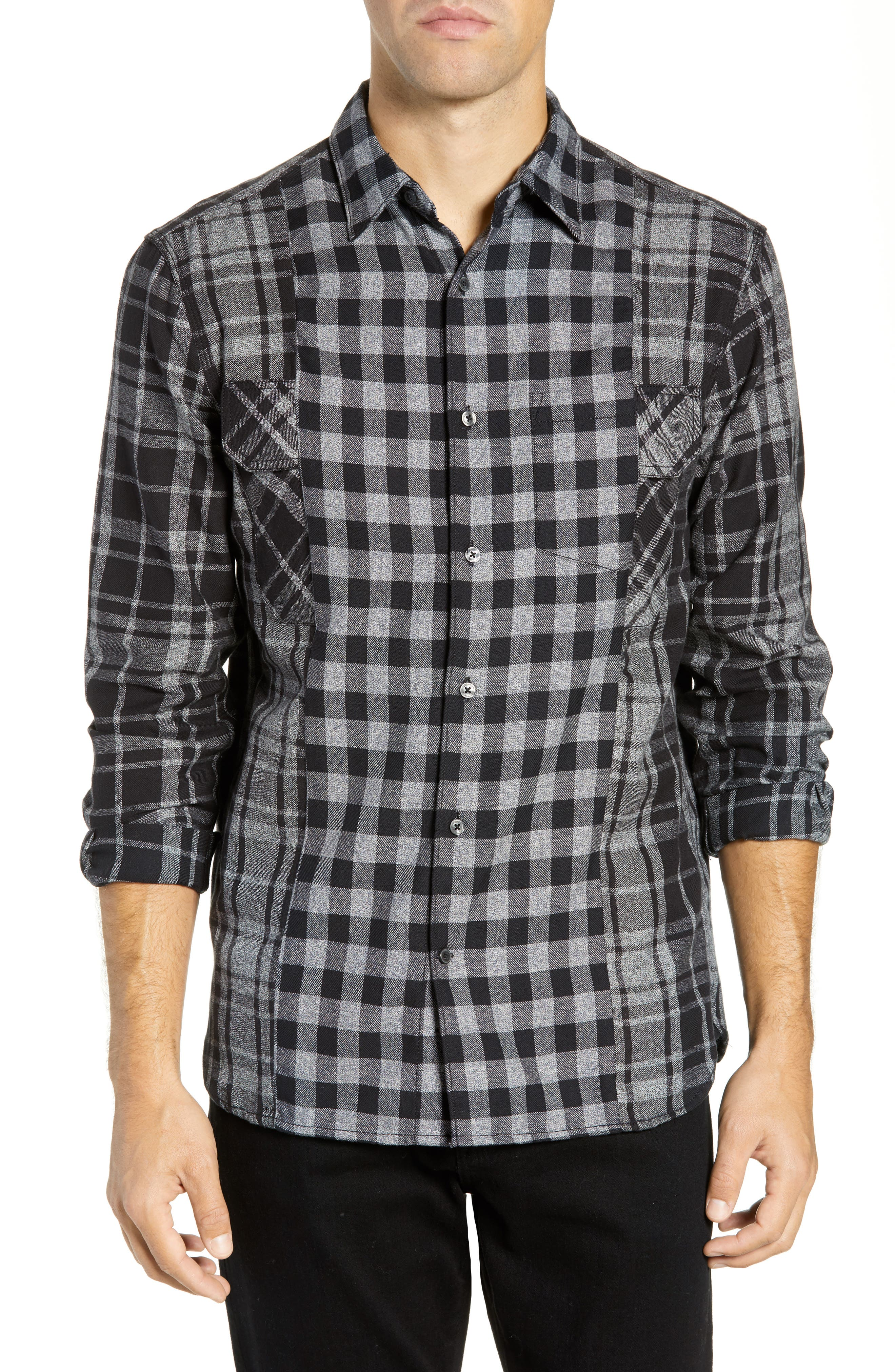 Bits & Pieces Loose Fit Sport Shirt, Main, color, BLACK CHECKS