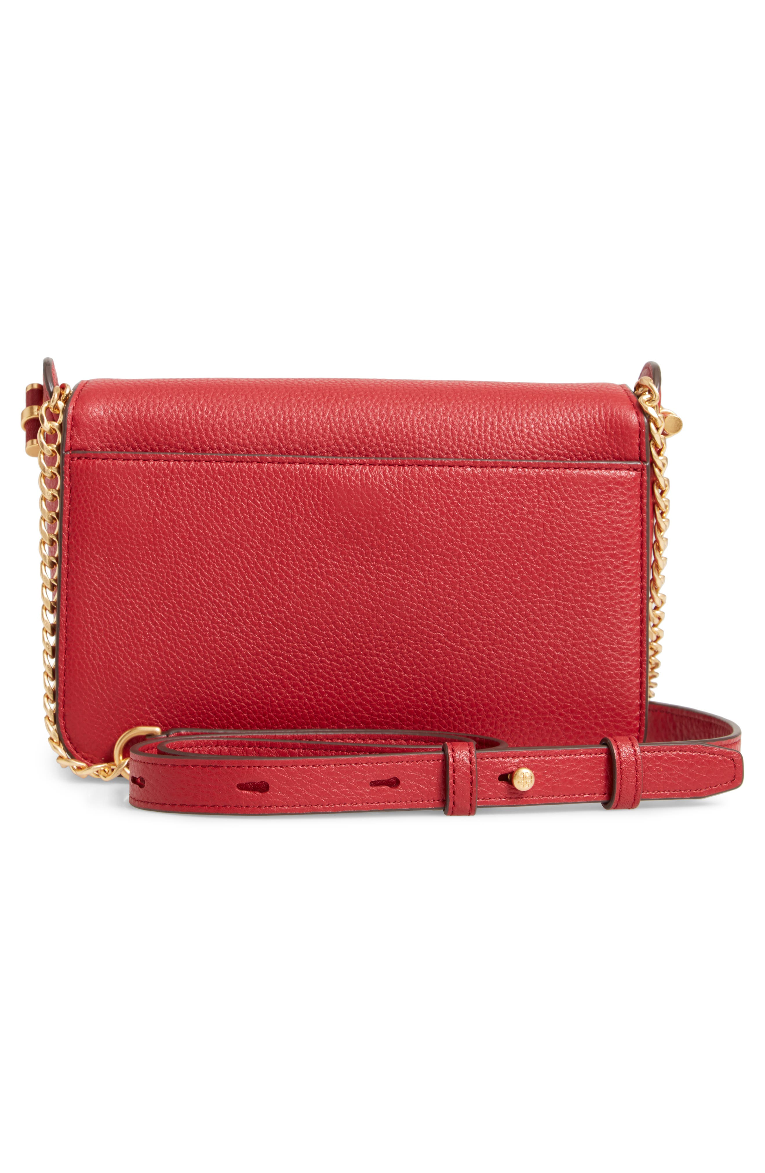 Chelsea Leather Crossbody Bag,                             Alternate thumbnail 3, color,                             REDSTONE