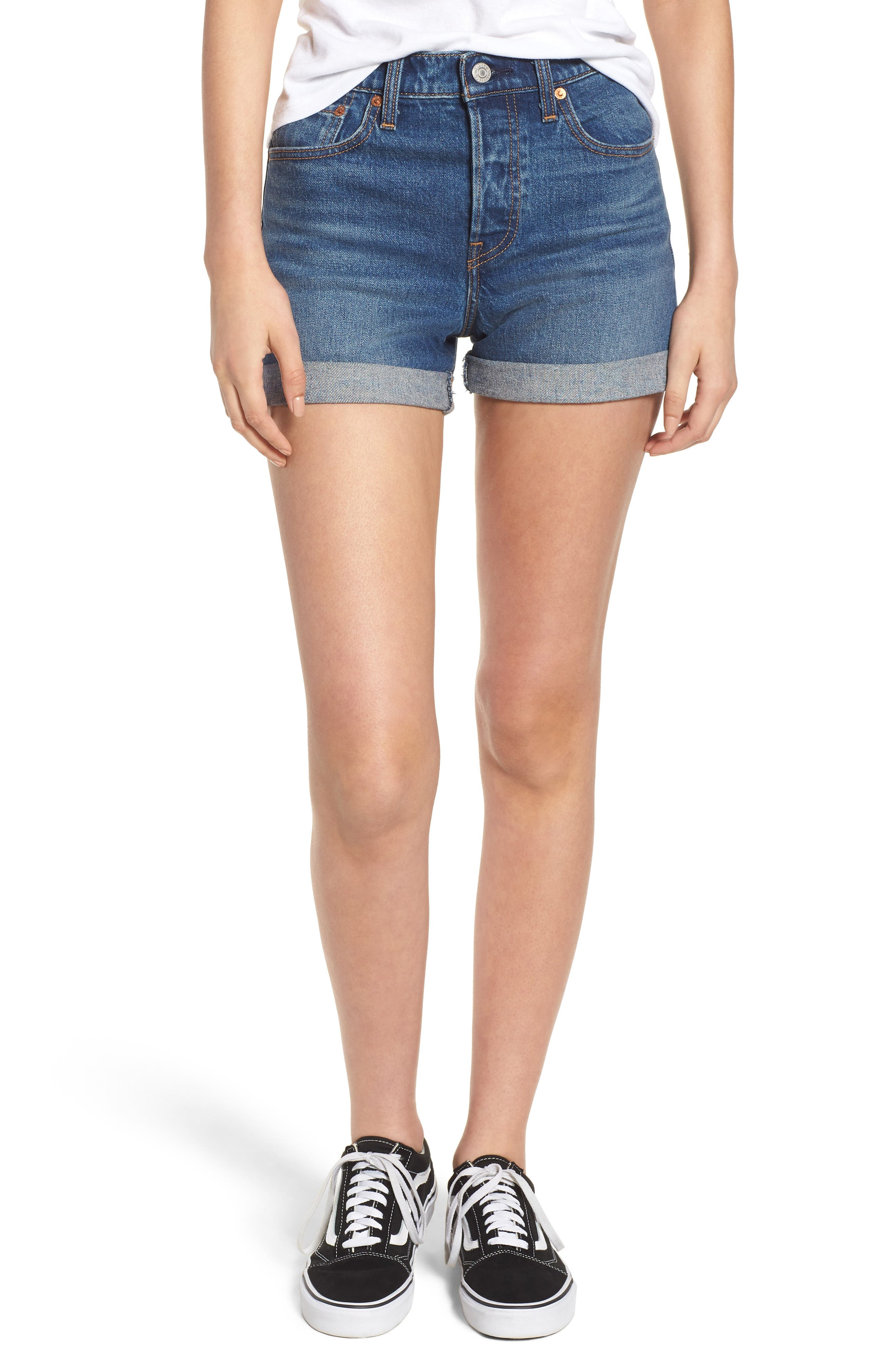 Wedgie Update Denim Shorts,                             Main thumbnail 1, color,                             401