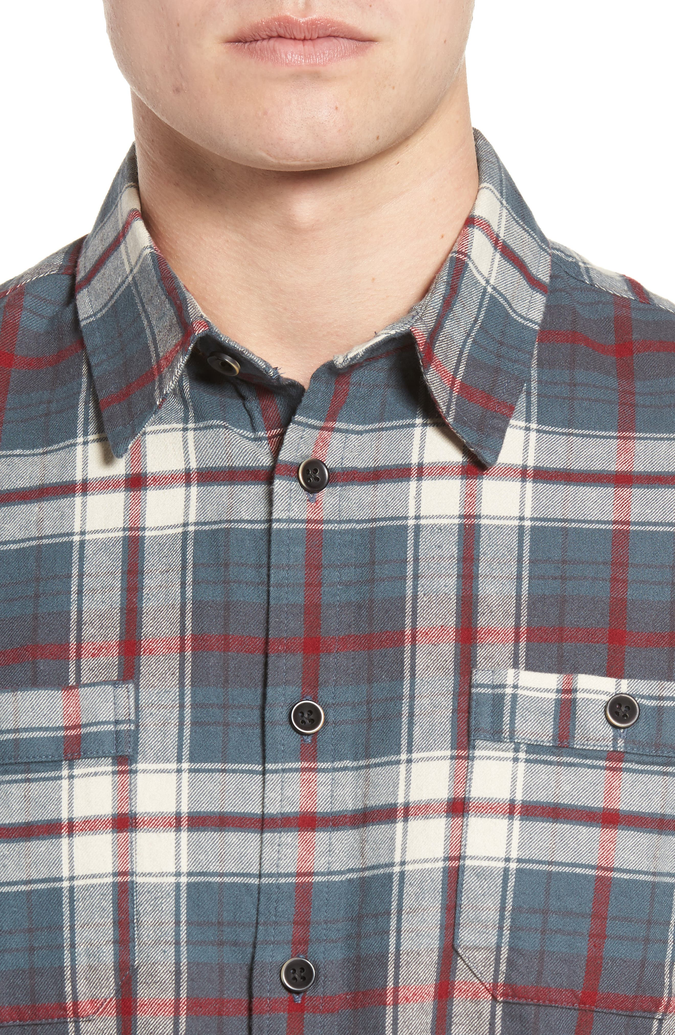 Raleigh Plaid Flannel Sport Shirt,                             Alternate thumbnail 4, color,                             009