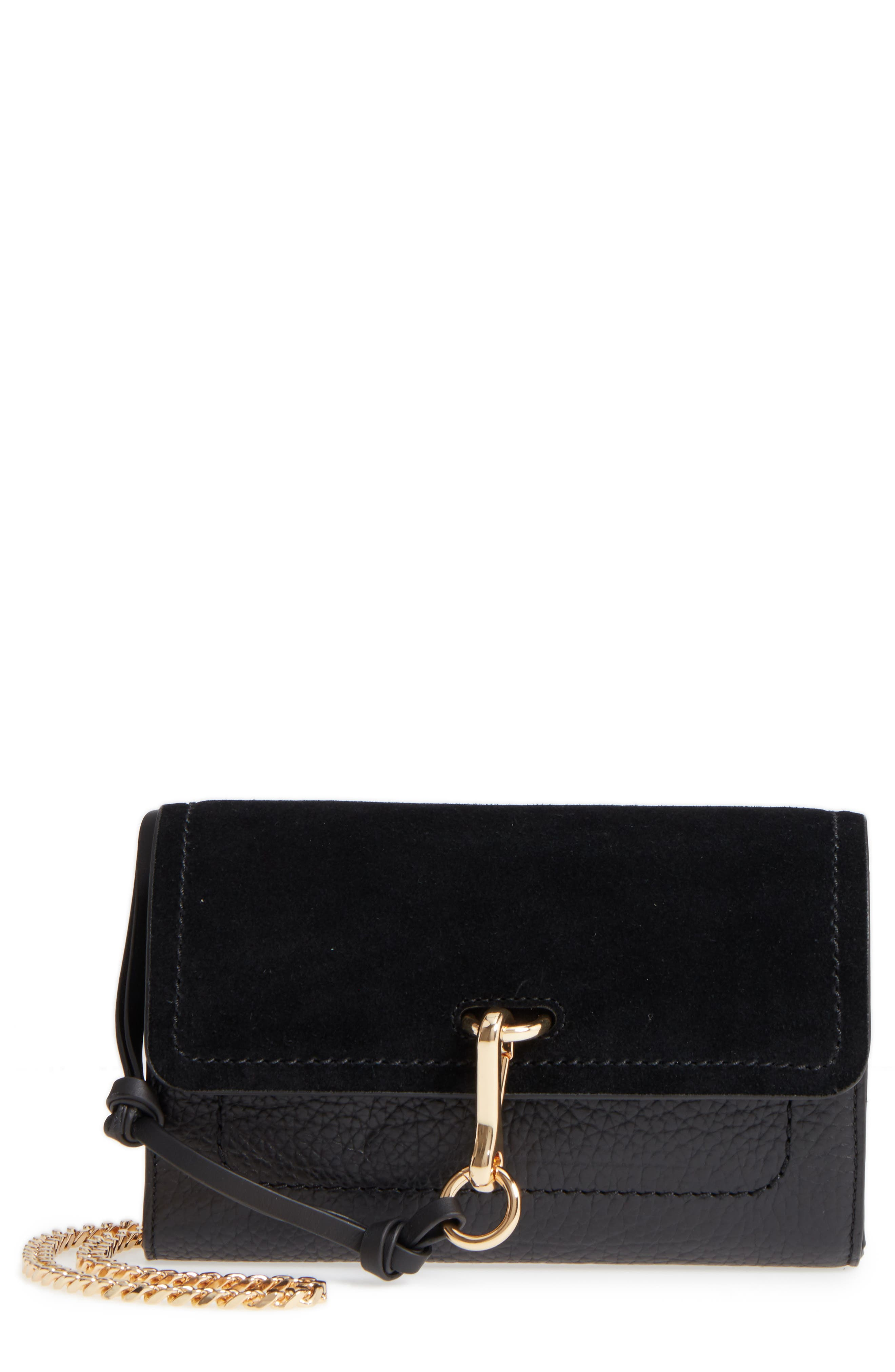 Blena Leather & Suede Clutch,                         Main,                         color, 001