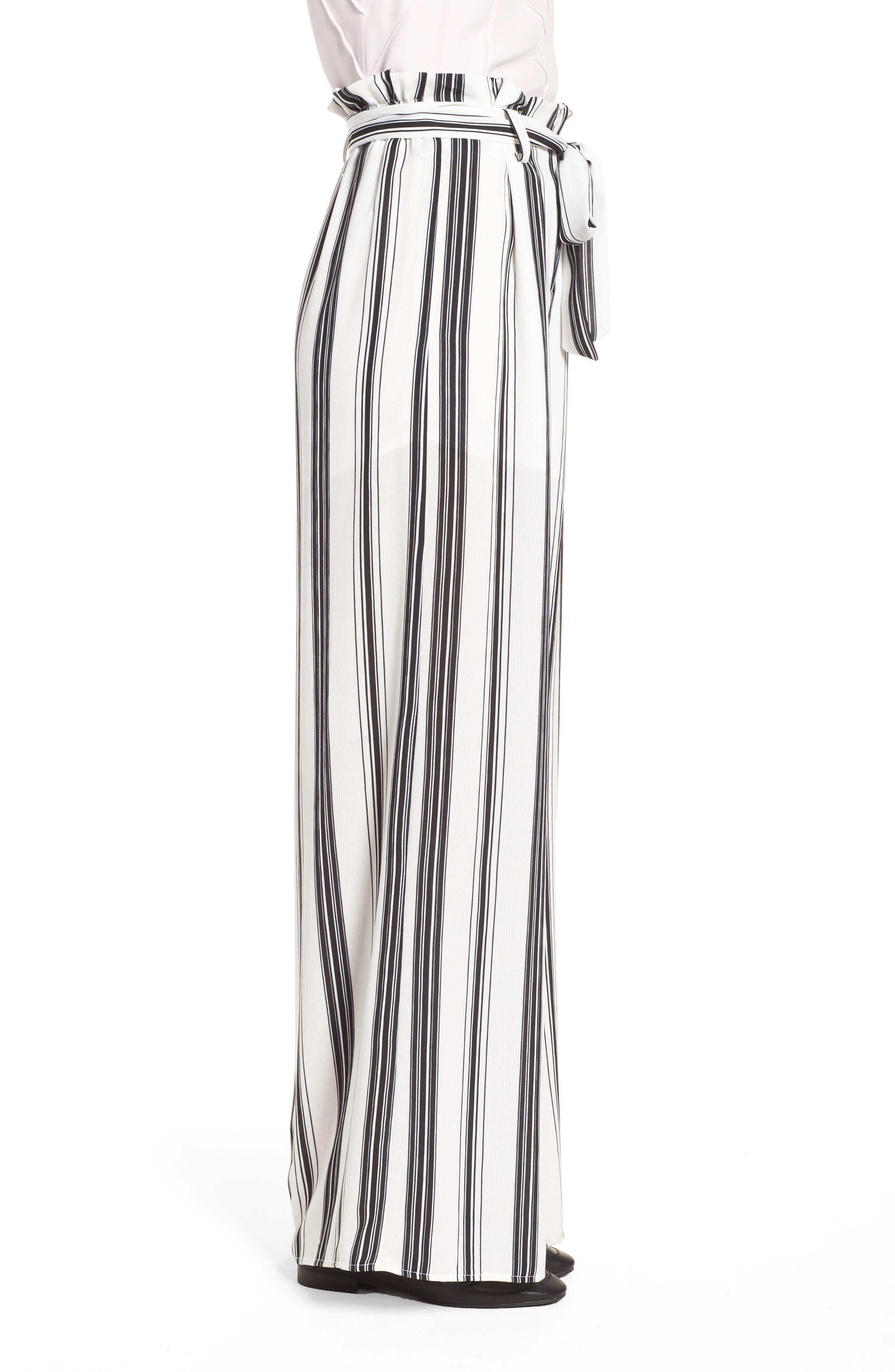 Paperbag Waist Wide Leg Crop Pants,                             Alternate thumbnail 3, color,                             001