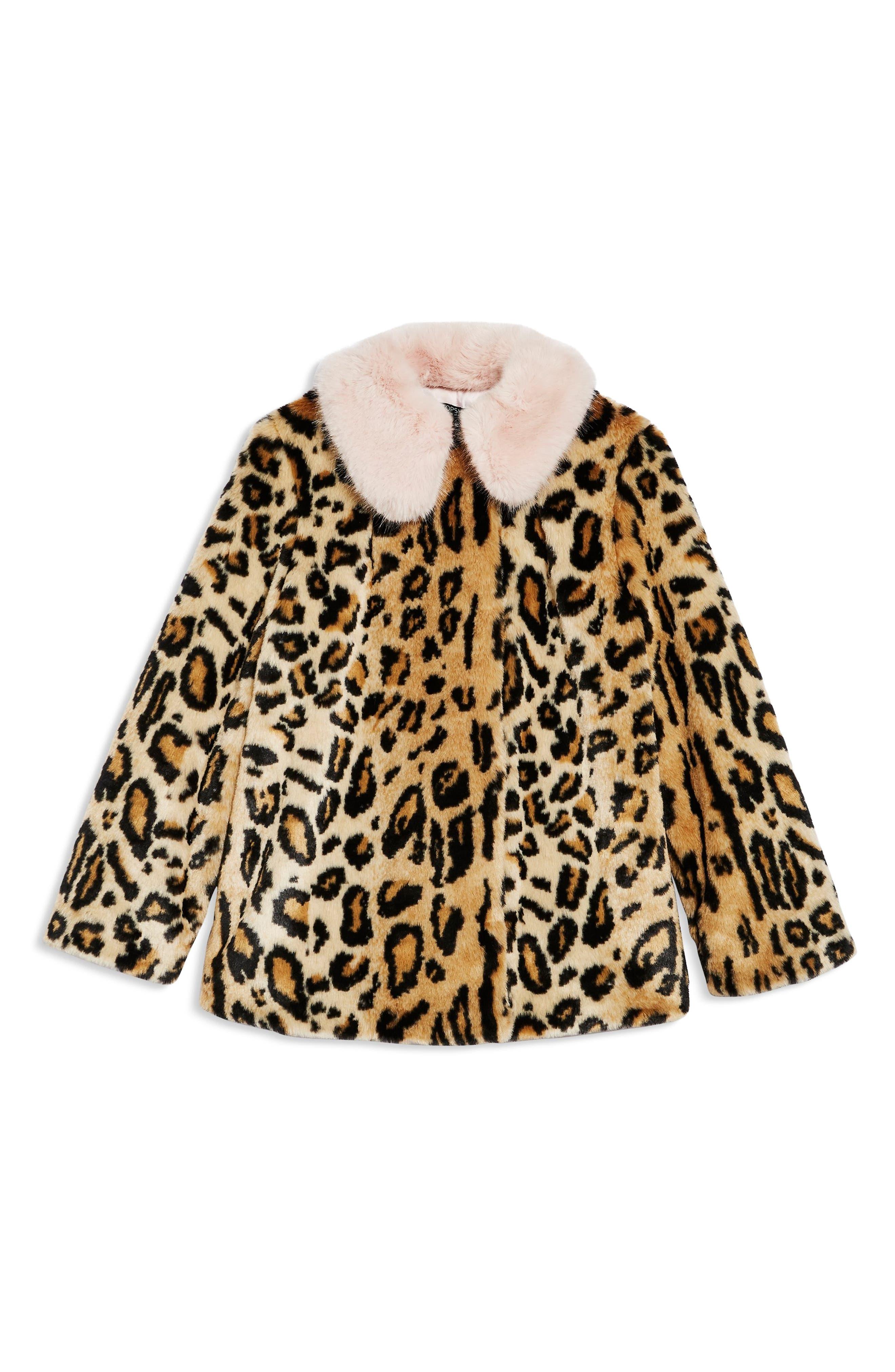 Leopard Spot Faux Fur Coat,                             Alternate thumbnail 3, color,                             BROWN MULTI