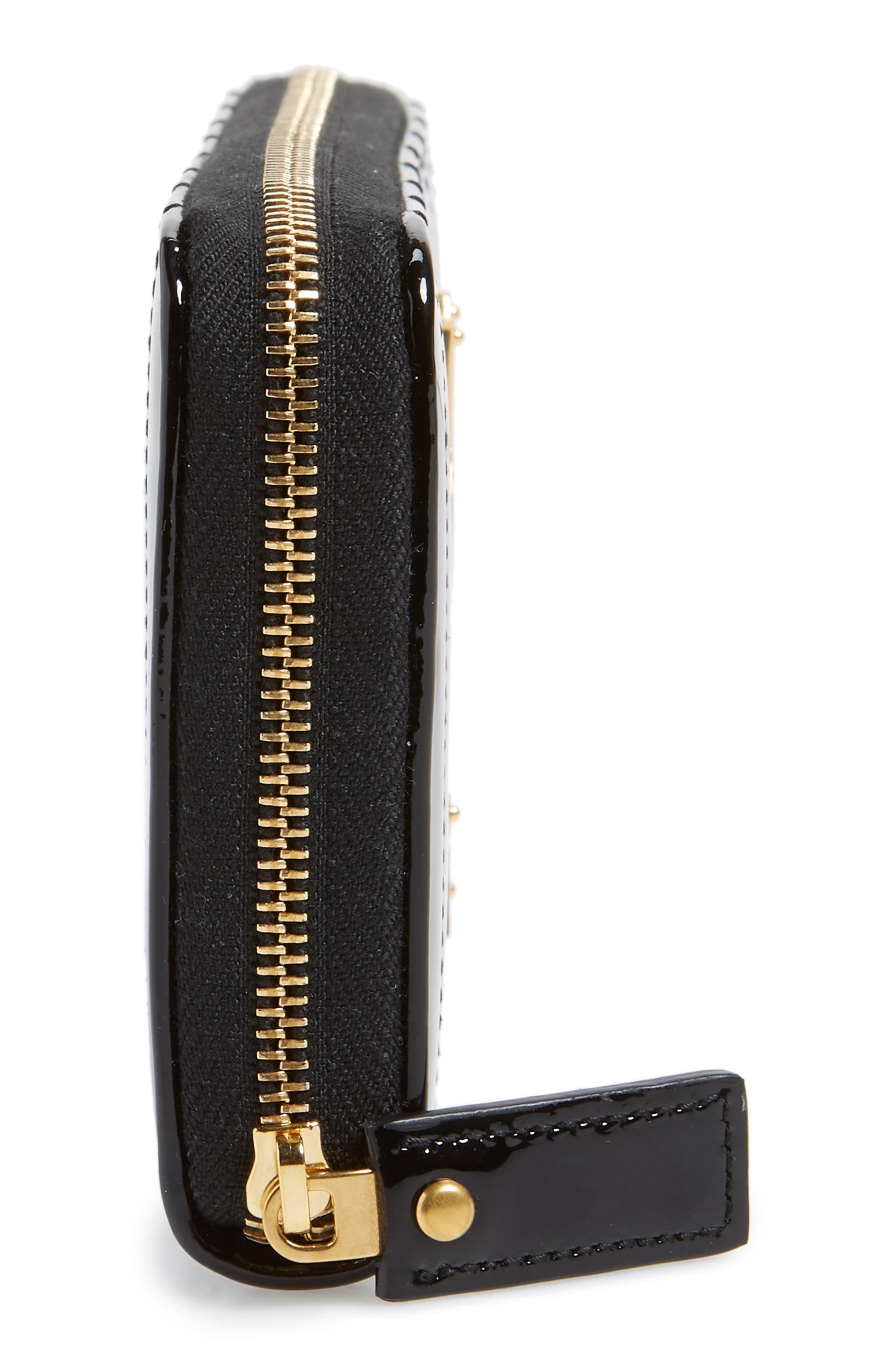 SAINT LAURENT,                             Vicky Patent Leather Zip Around Wallet,                             Alternate thumbnail 5, color,                             NOIR