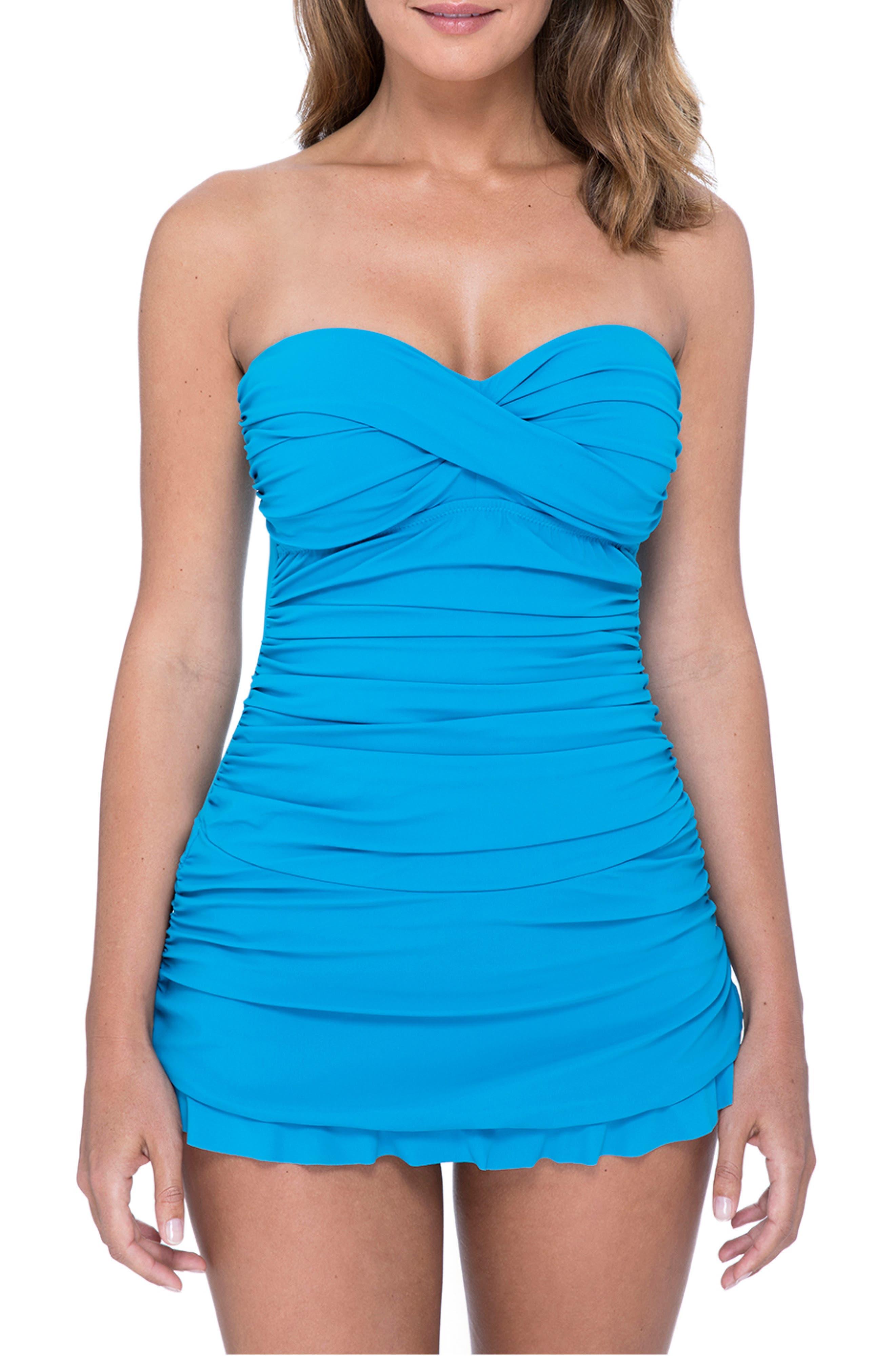1950s Swimsuits, 50s Bathing Suits, Retro Swimwear Womens Profile By Gottex Tutti Frutti Swim Dress Size 14 - Bluegreen $128.00 AT vintagedancer.com