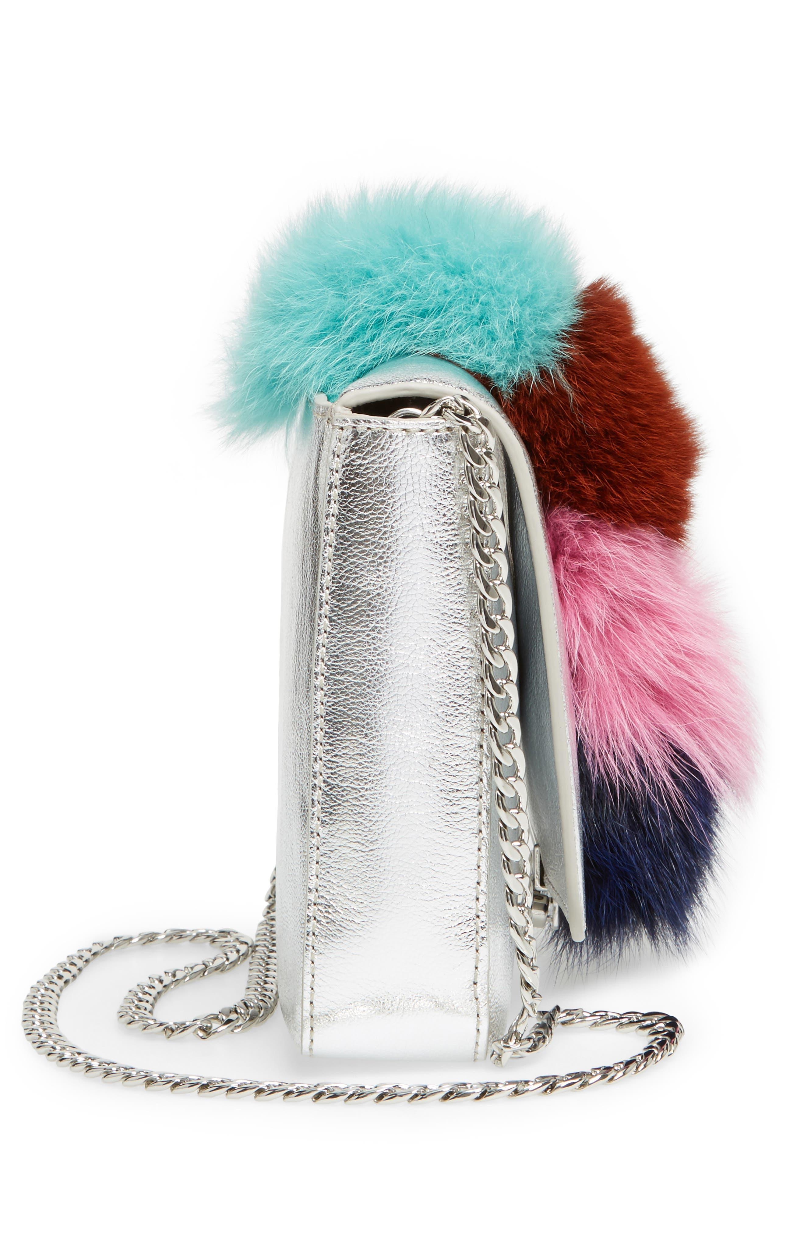 Lock Genuine Fox Fur Shoulder Bag,                             Alternate thumbnail 5, color,                             049