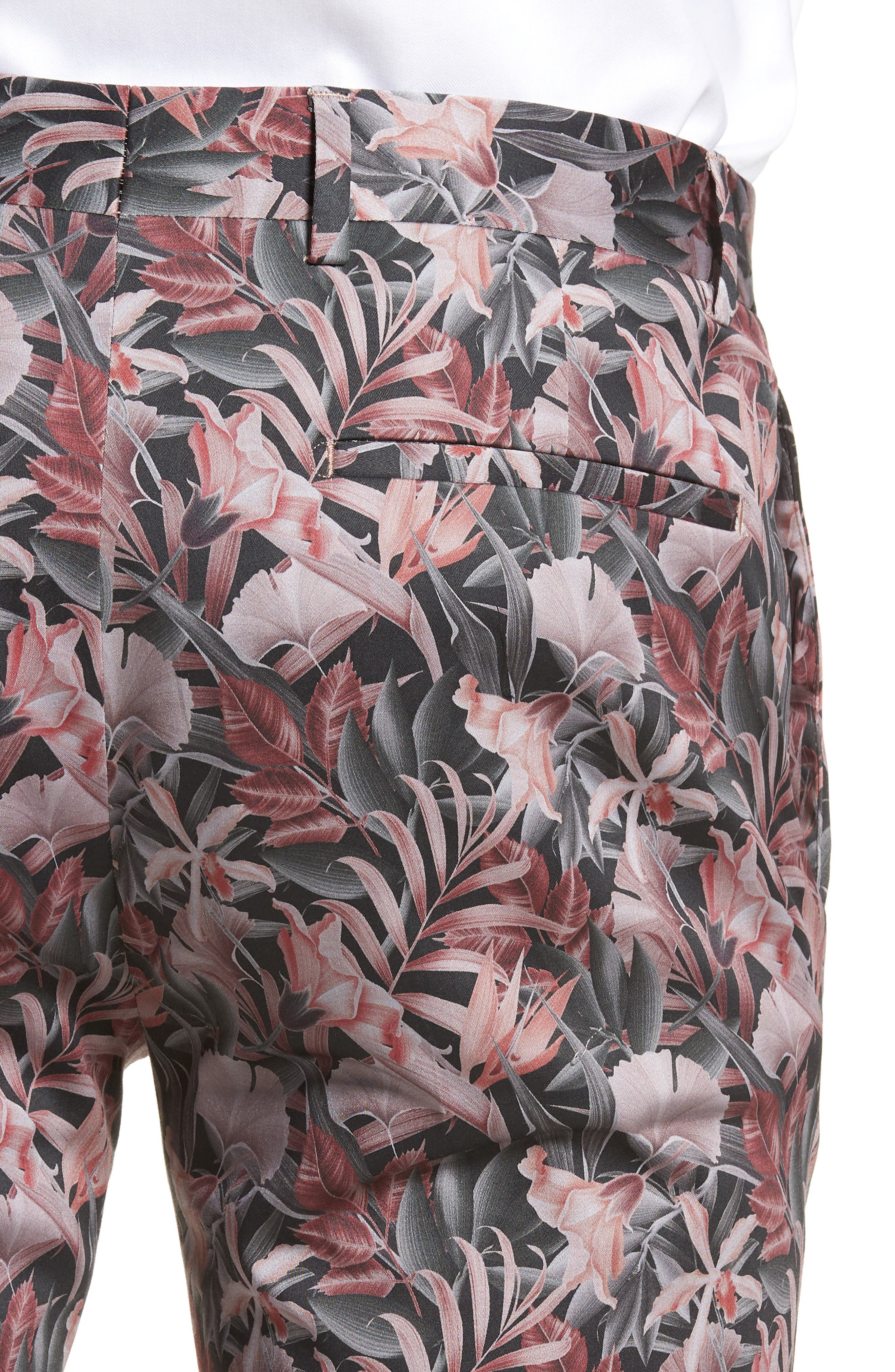 Ultra Skinny Fit Hibiscus Print Suit Trousers,                             Alternate thumbnail 4, color,                             650