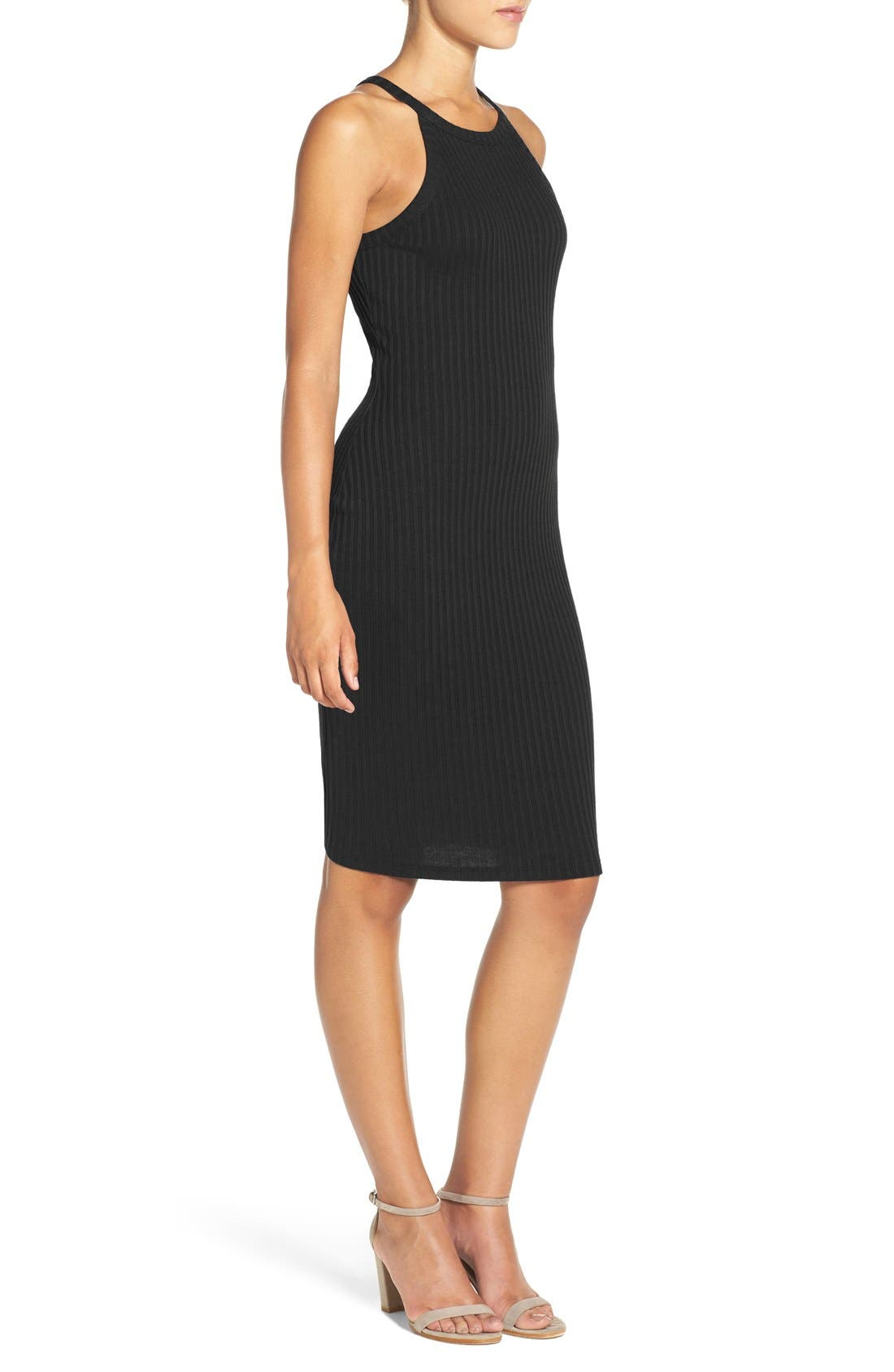 NSR,                             Body-Con Sweater Dress,                             Alternate thumbnail 3, color,                             001