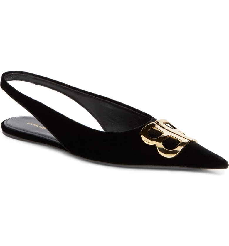 7cc9d4f59c Balenciaga Knife Logo-Embellished Velvet Point-Toe Flats In Black ...