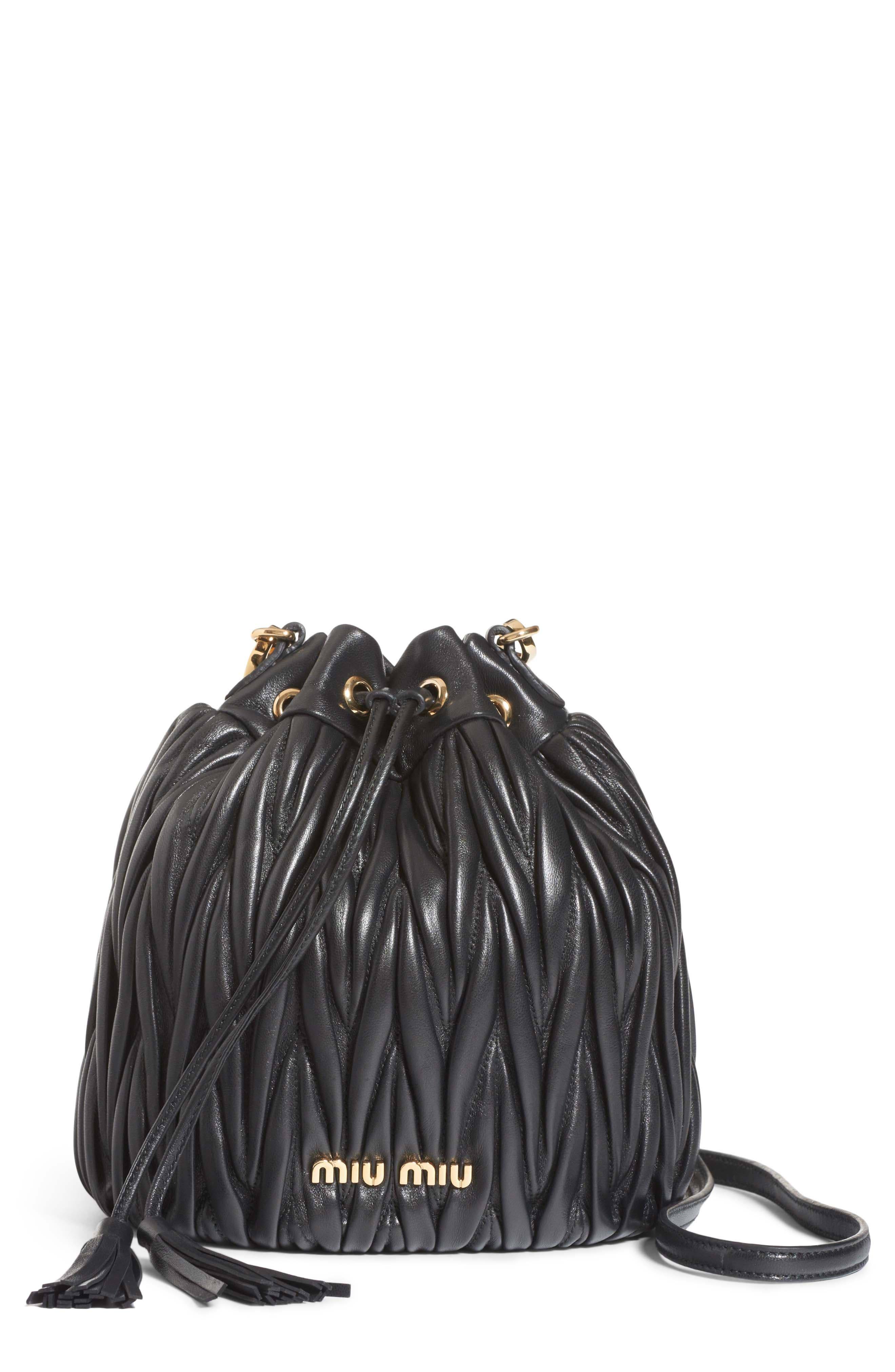 Small Matelassé Leather Bucket Bag, Main, color, NERO
