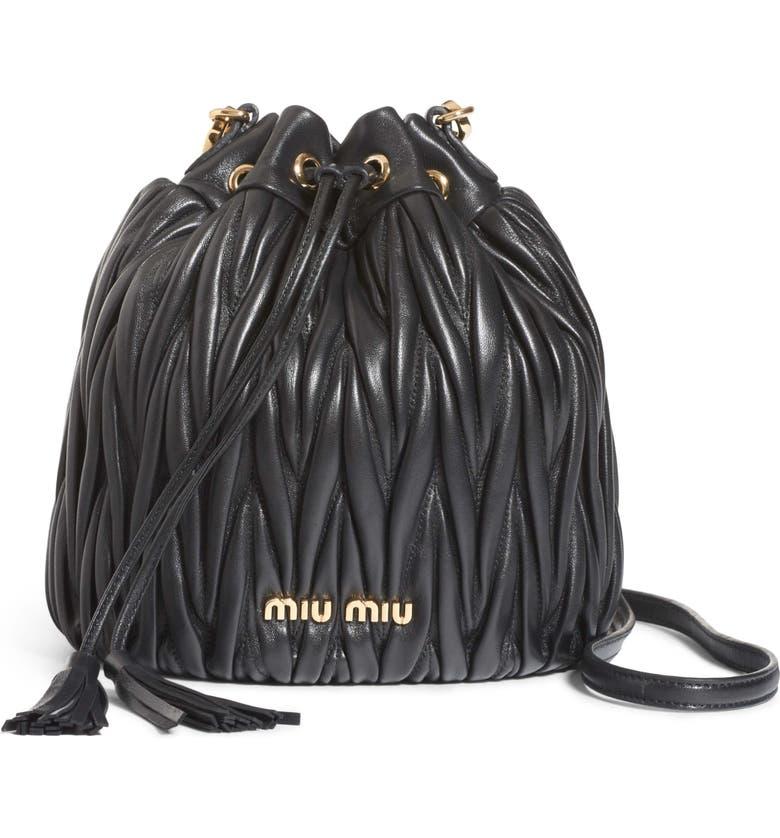Miu Miu Small Matelassé Leather Bucket Bag  8337e593c75d9