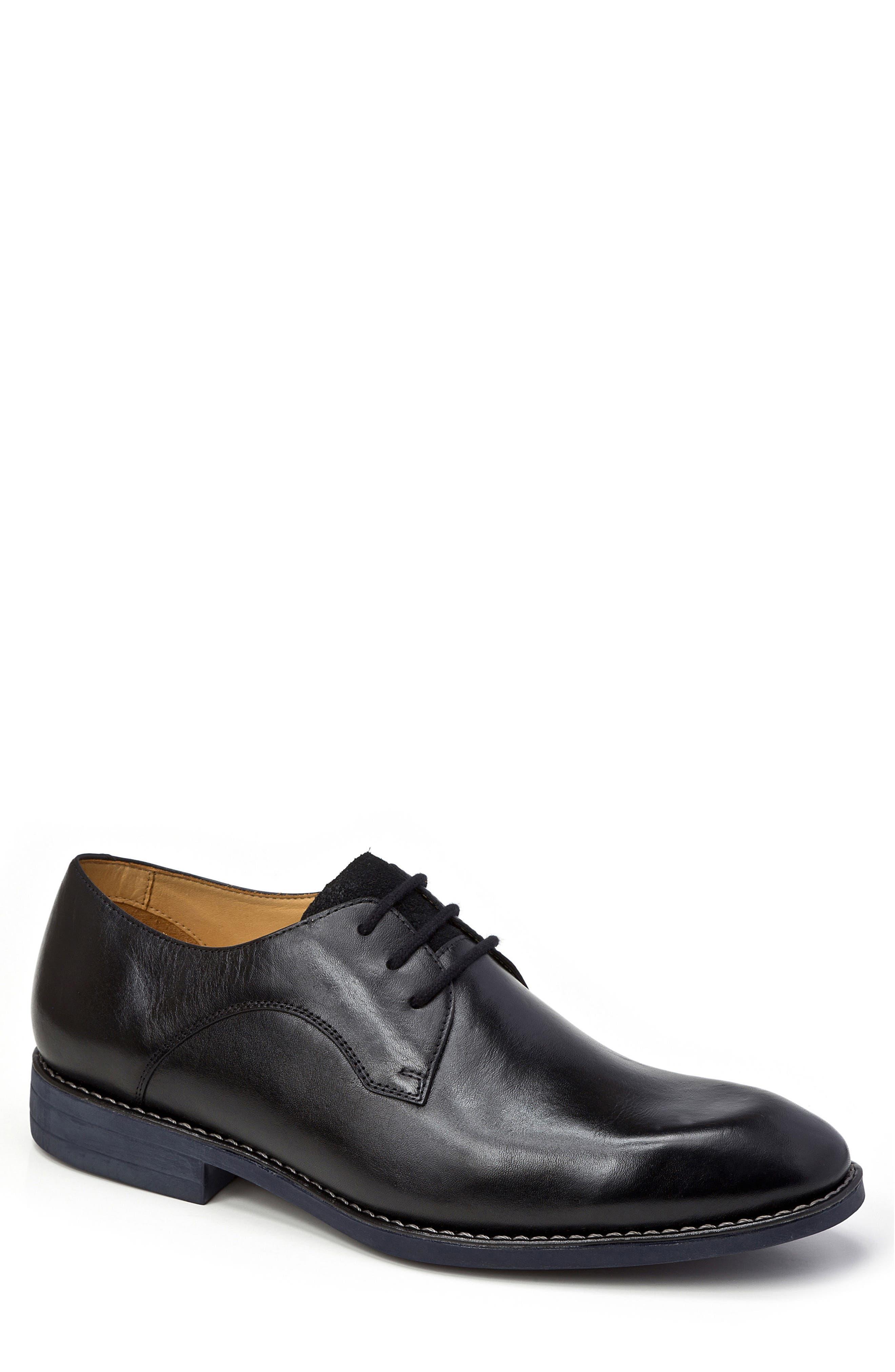 Garret Plain Toe Derby,                             Main thumbnail 1, color,                             BLACK LEATHER