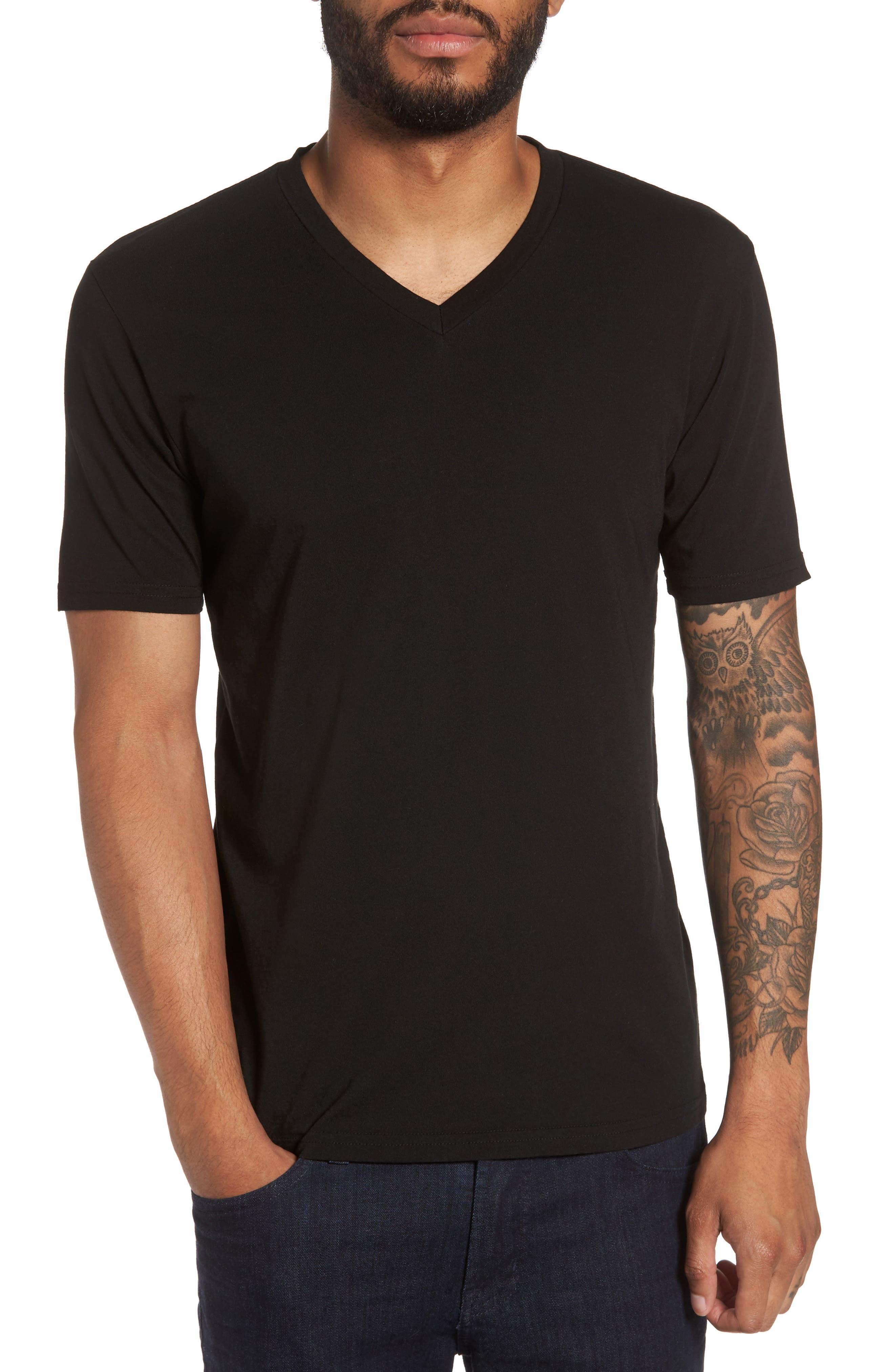 Classic Supima Cotton Blend V-Neck T-Shirt,                         Main,                         color, BLACK