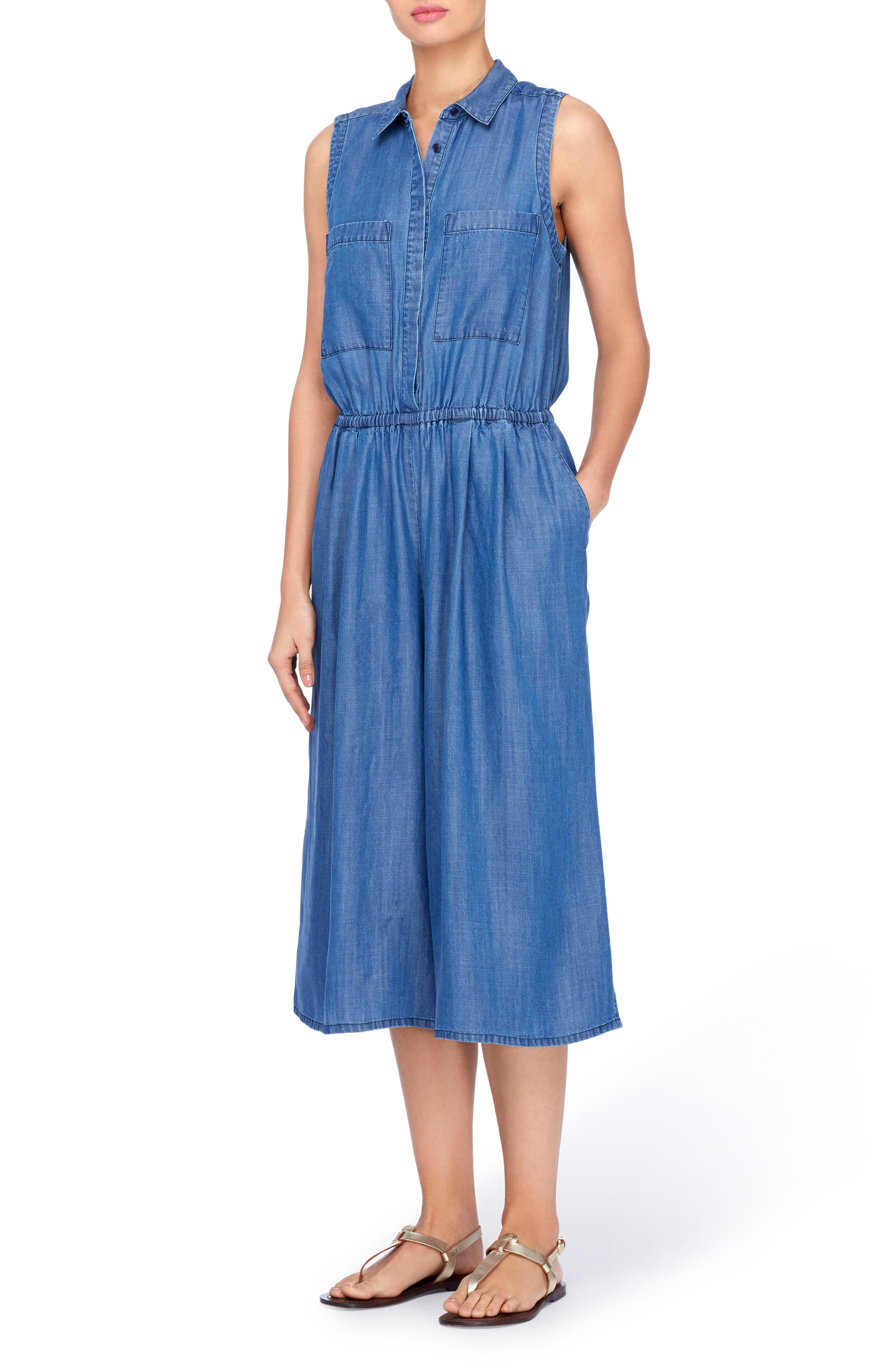 Bethea Chambray Jumpsuit,                         Main,                         color, 496