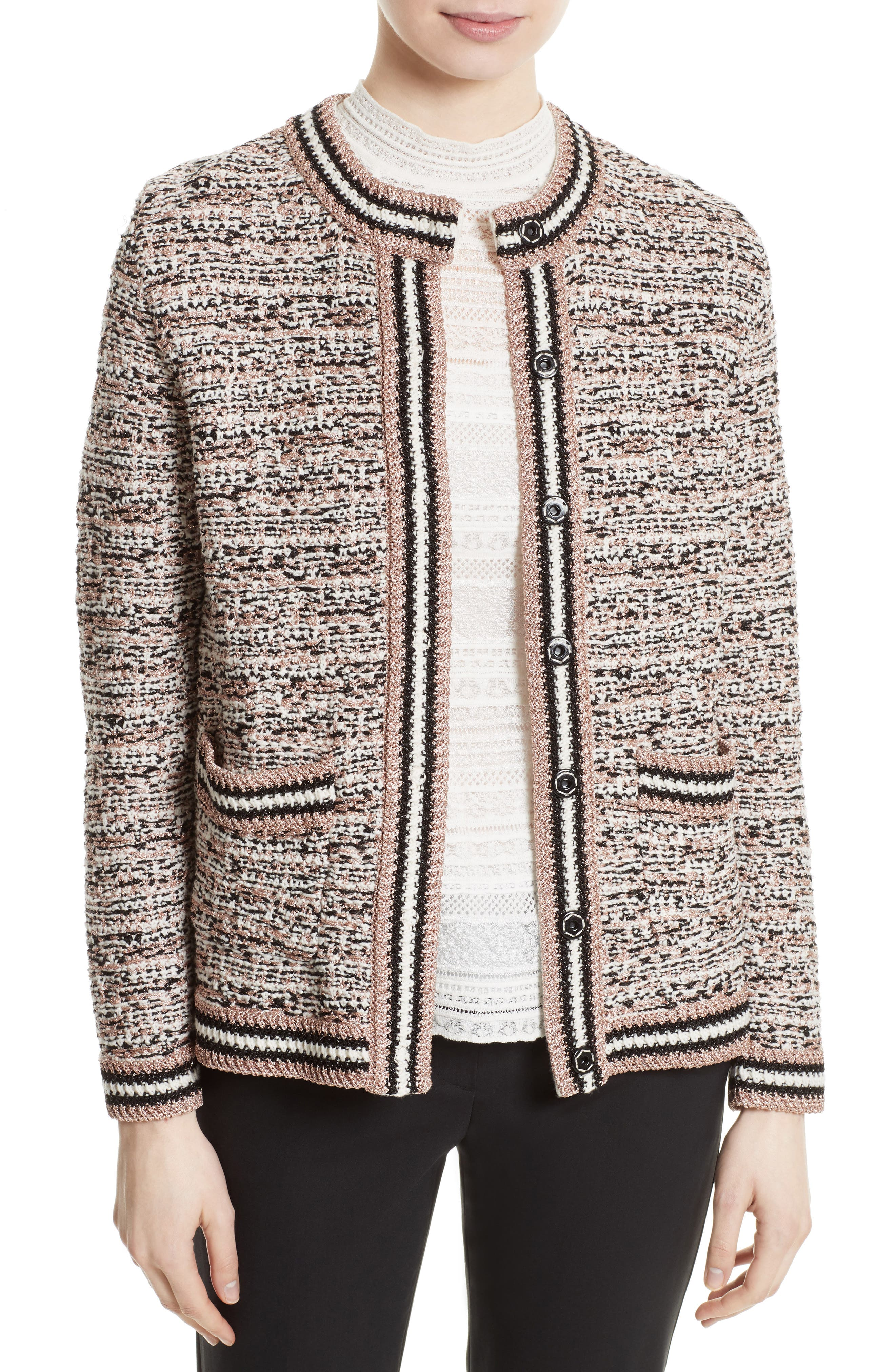 Metallic Tweed Jacket,                             Main thumbnail 1, color,                             650