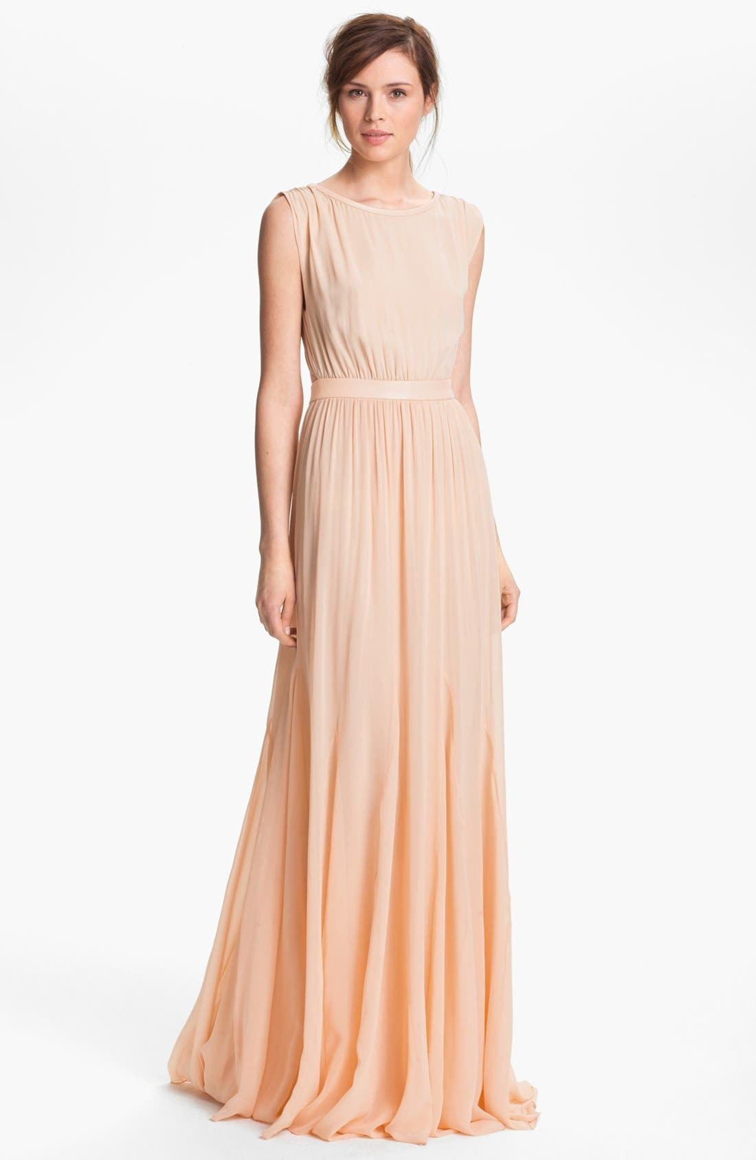 Alice Olivia Triss Leather Trim Maxi Dress Nordstrom