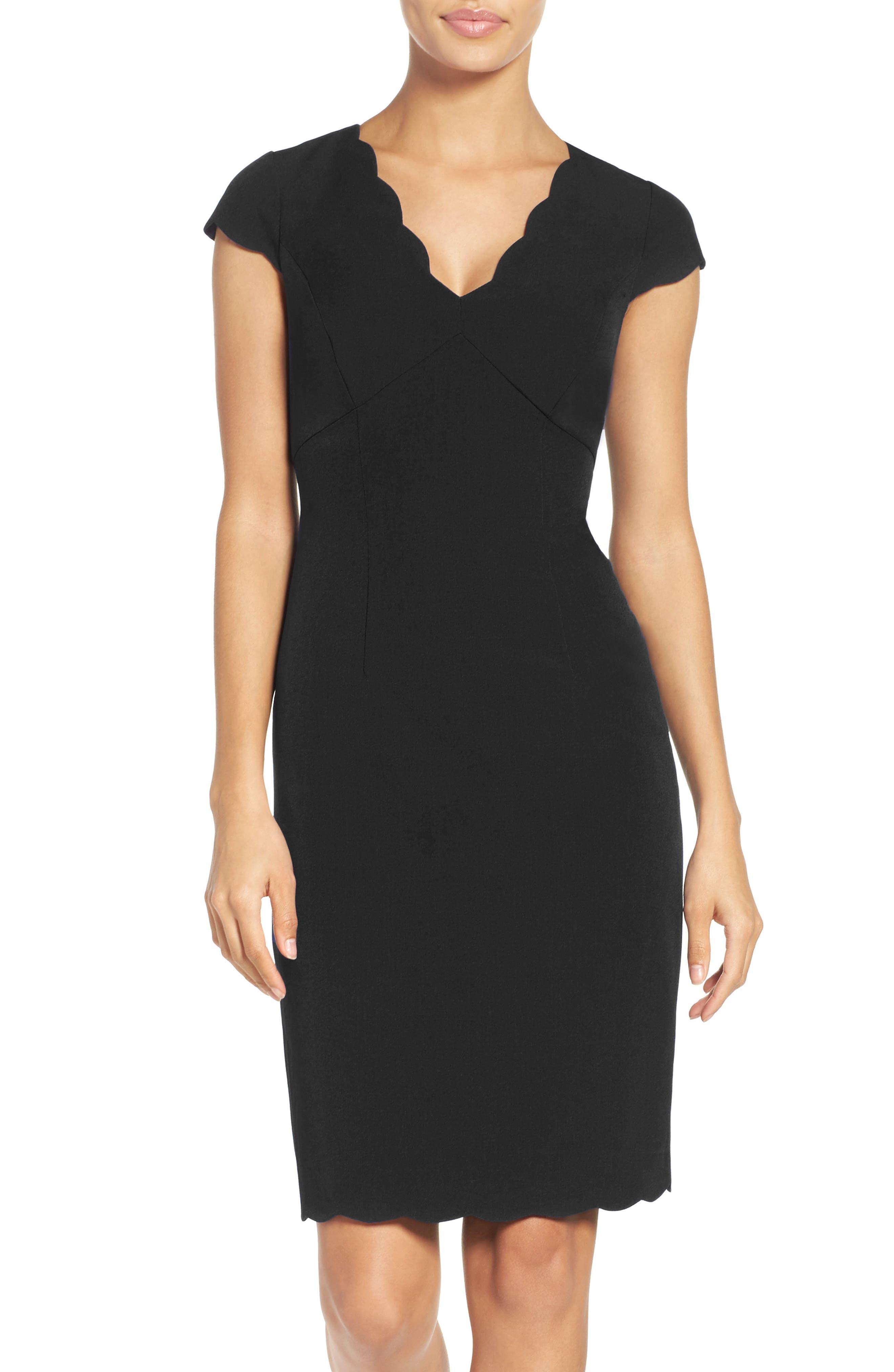 ADRIANNA PAPELL,                             Scalloped Crepe Sheath Dress,                             Alternate thumbnail 5, color,                             001