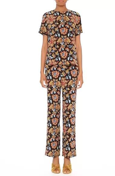 Floral Print Silk Pants, video thumbnail