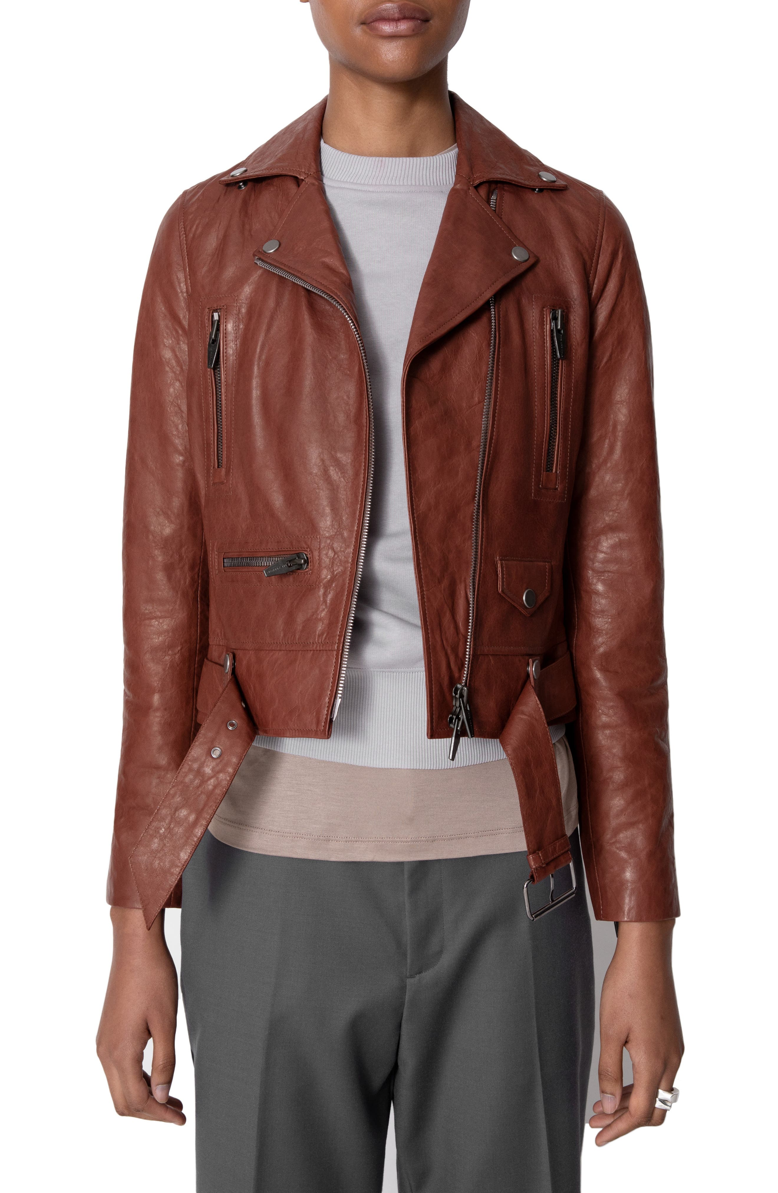 THE ARRIVALS Clo Ii Leather Jacket in Rust