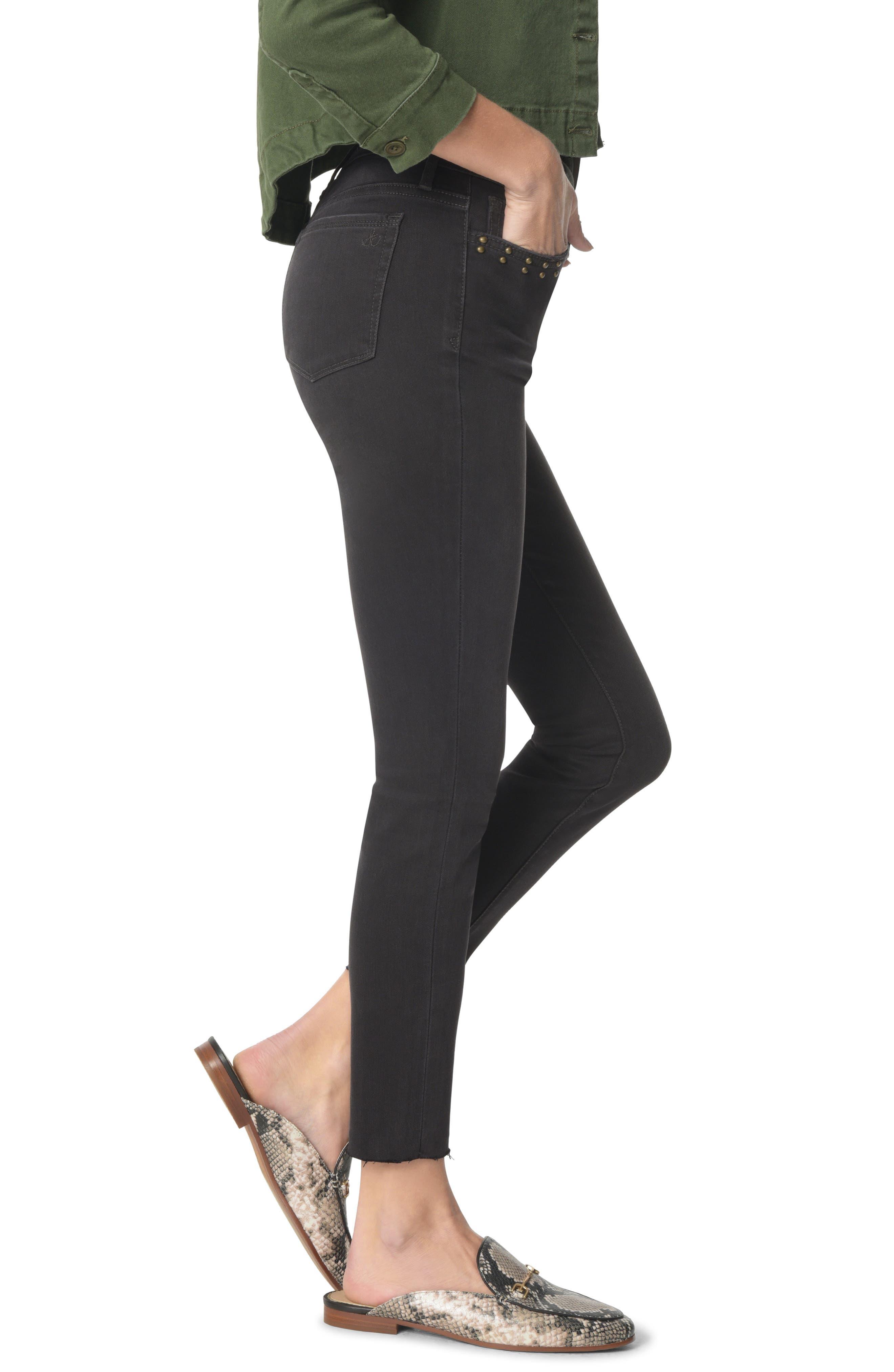 The Kitten Studded Ankle Skinny Jeans,                             Alternate thumbnail 3, color,                             TATEUM