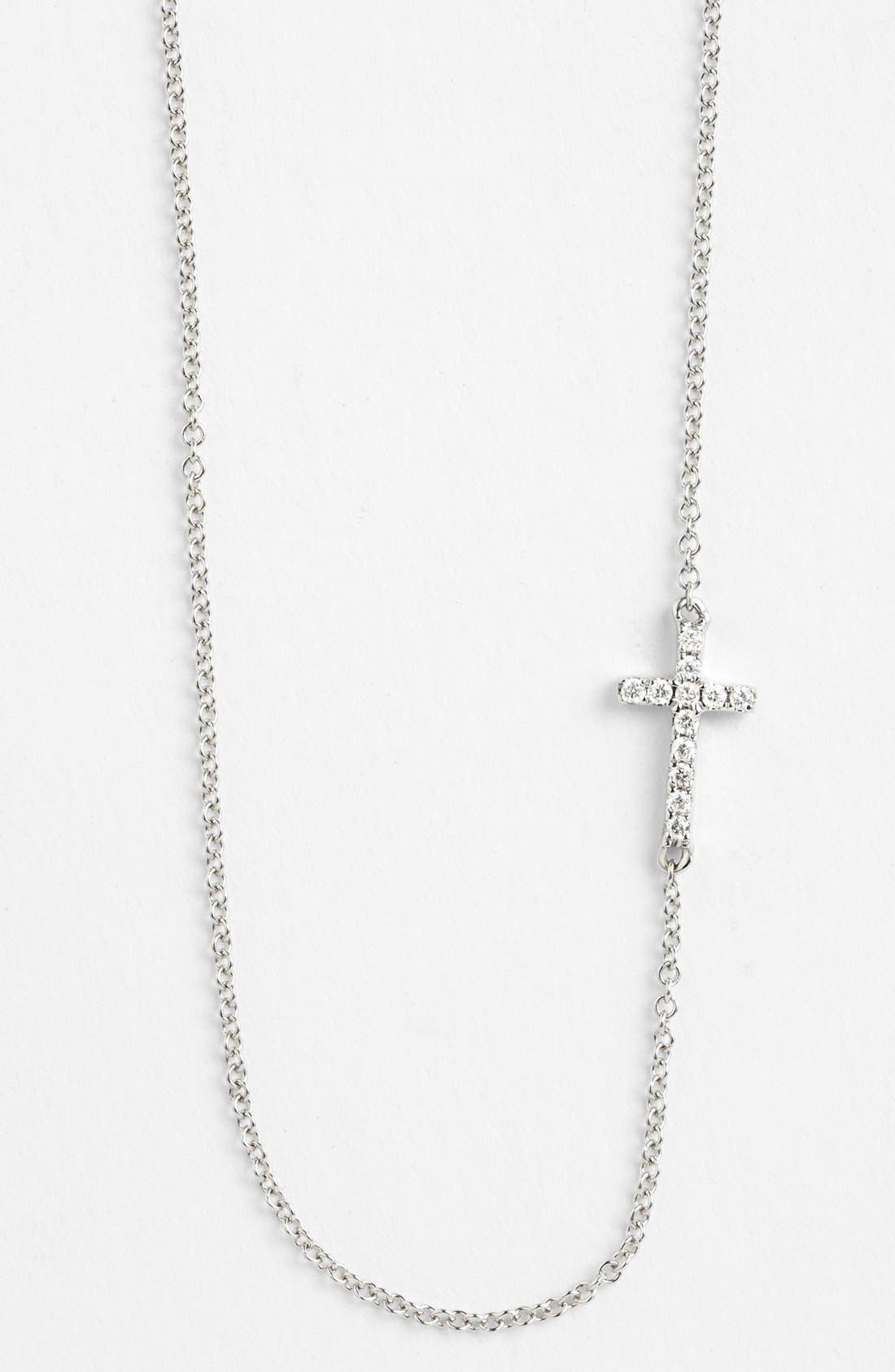 Reversible Diamond Cross Pendant Necklace,                             Alternate thumbnail 4, color,                             WHITE GOLD