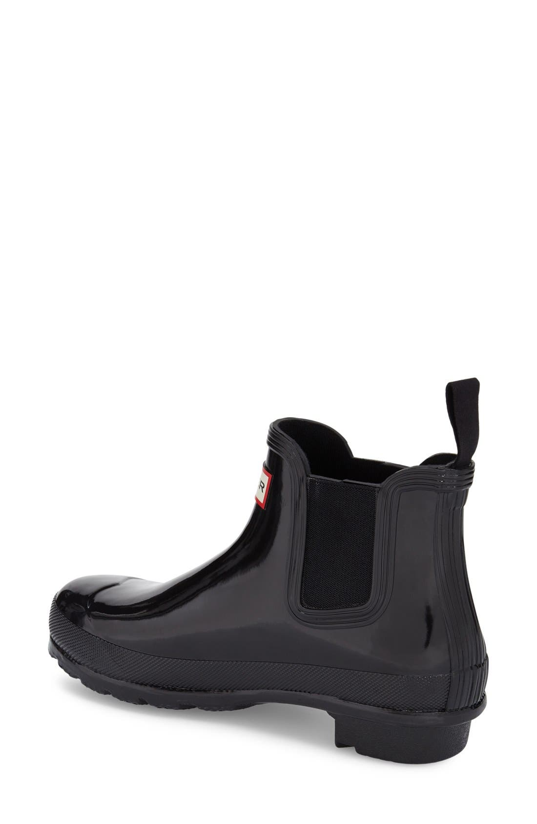HUNTER,                             Original Gloss Waterproof Chelsea Boot,                             Alternate thumbnail 3, color,                             BLACK