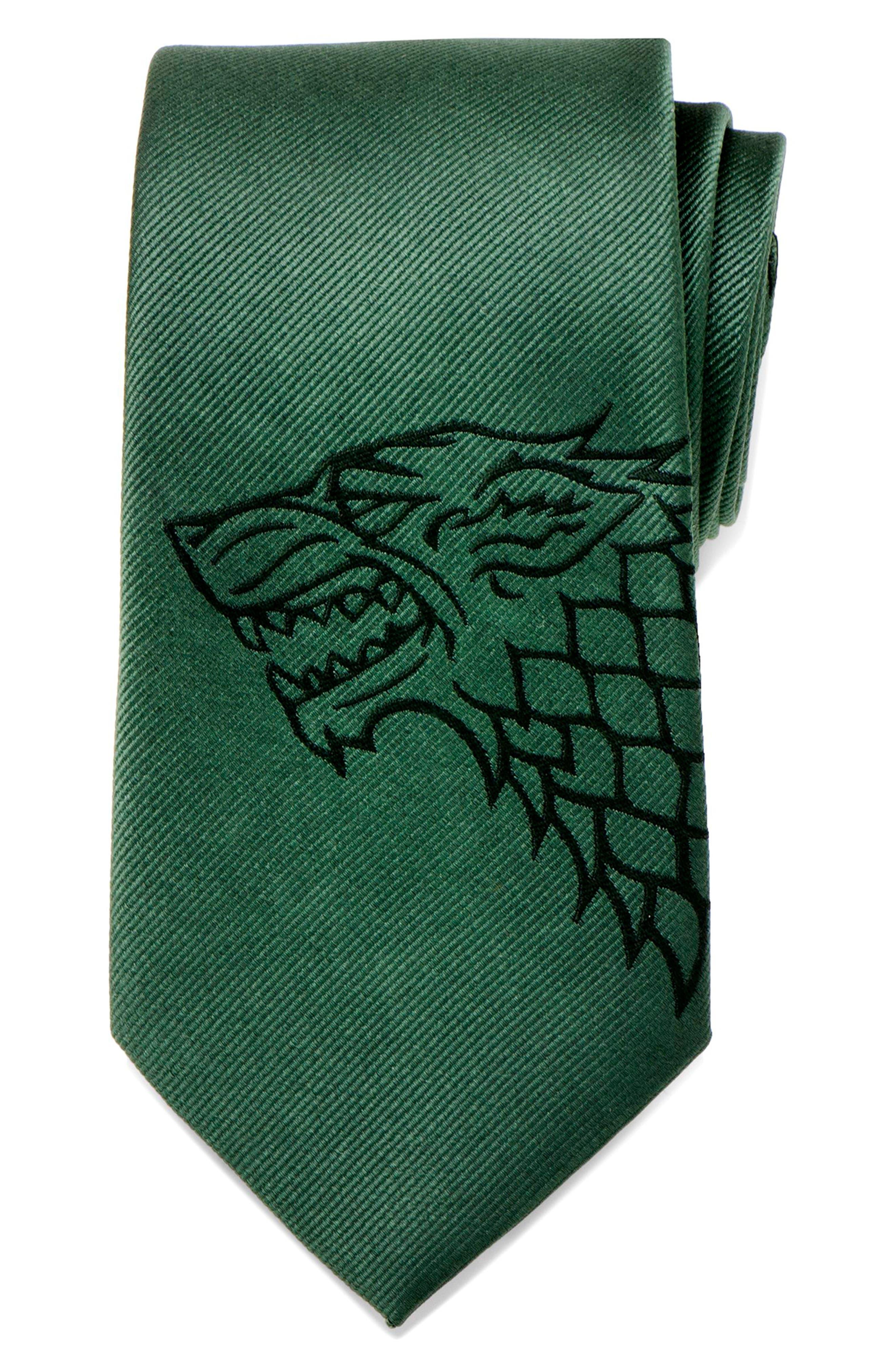 Game of Thrones Stark Silk Tie,                             Alternate thumbnail 5, color,                             GREEN