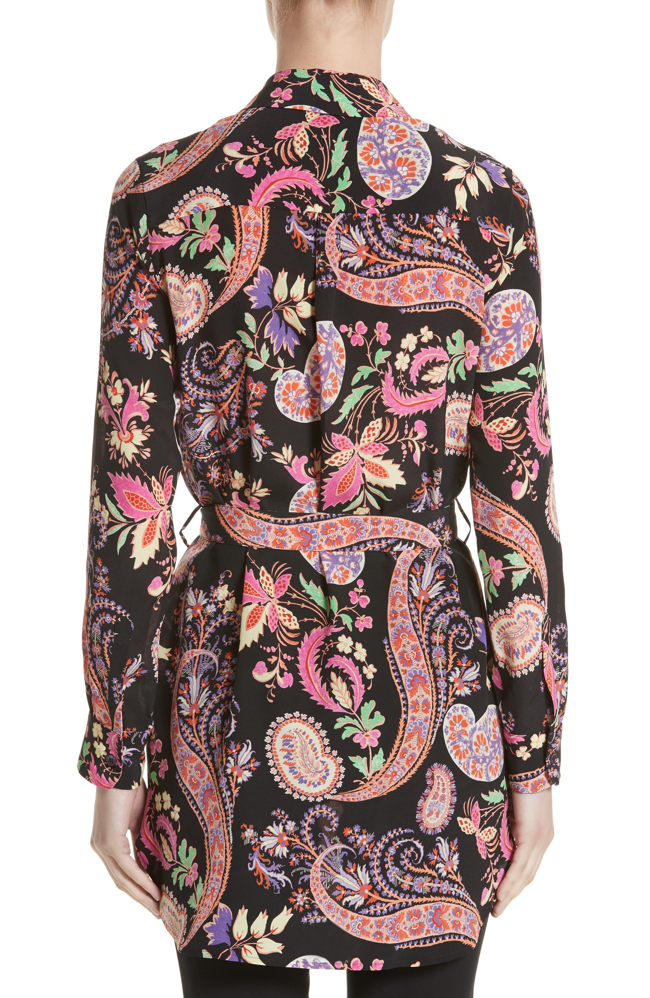 Floral Paisley Print Silk Tunic,                             Alternate thumbnail 2, color,                             001