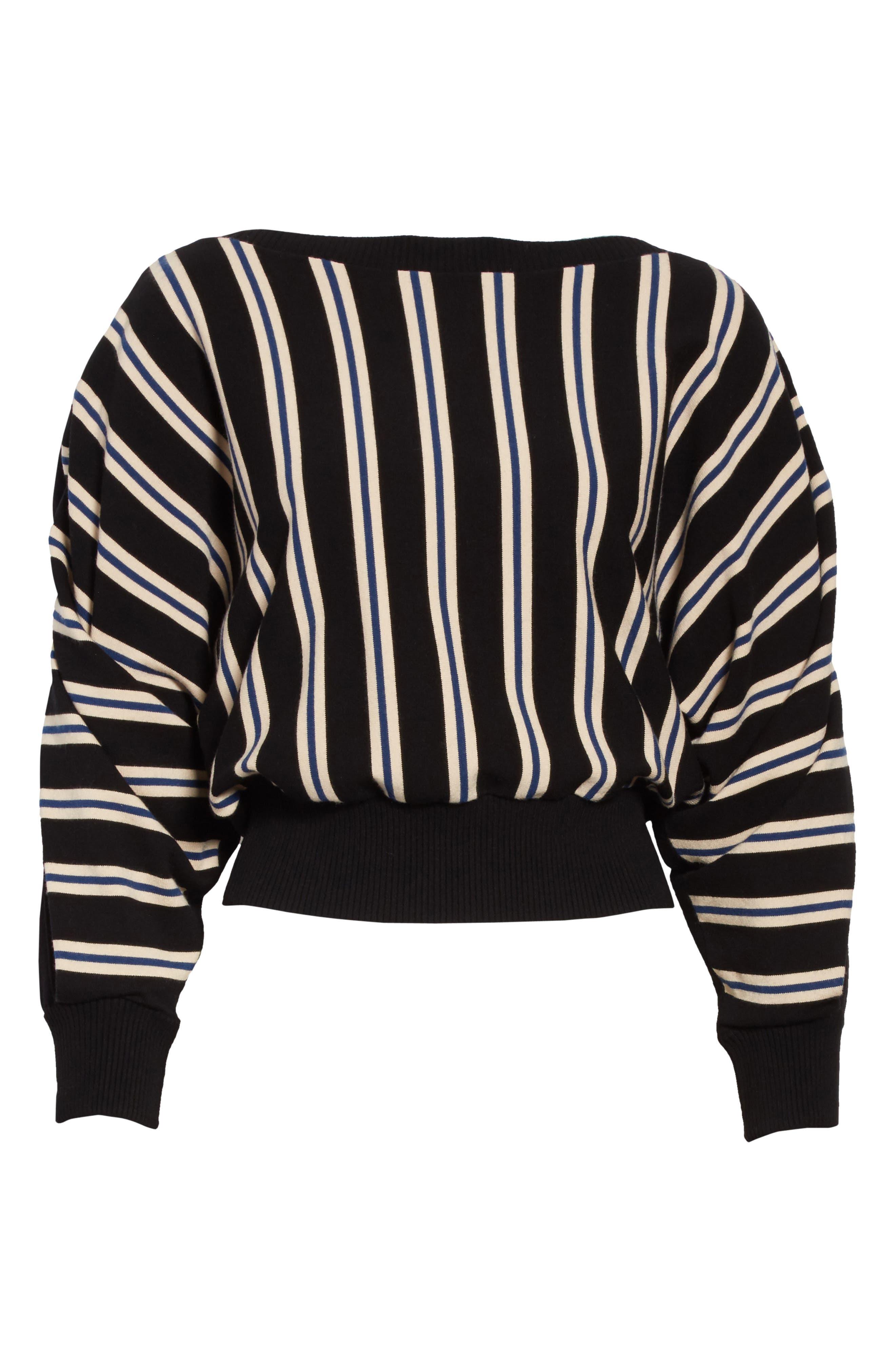 Ottoman Stripe Pullover,                             Alternate thumbnail 6, color,                             001
