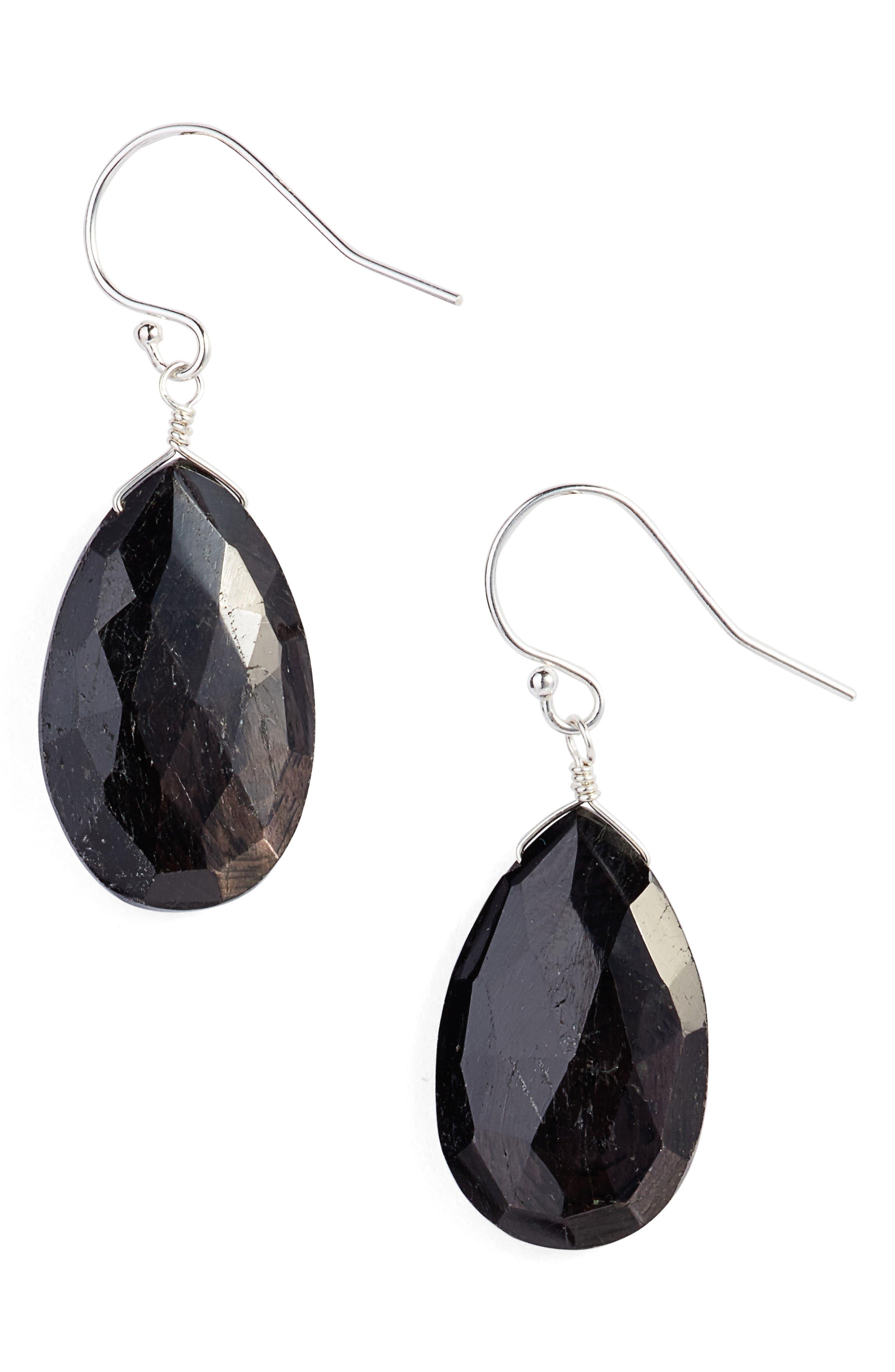 Semiprecious Pear Drop Earrings,                             Main thumbnail 1, color,                             040