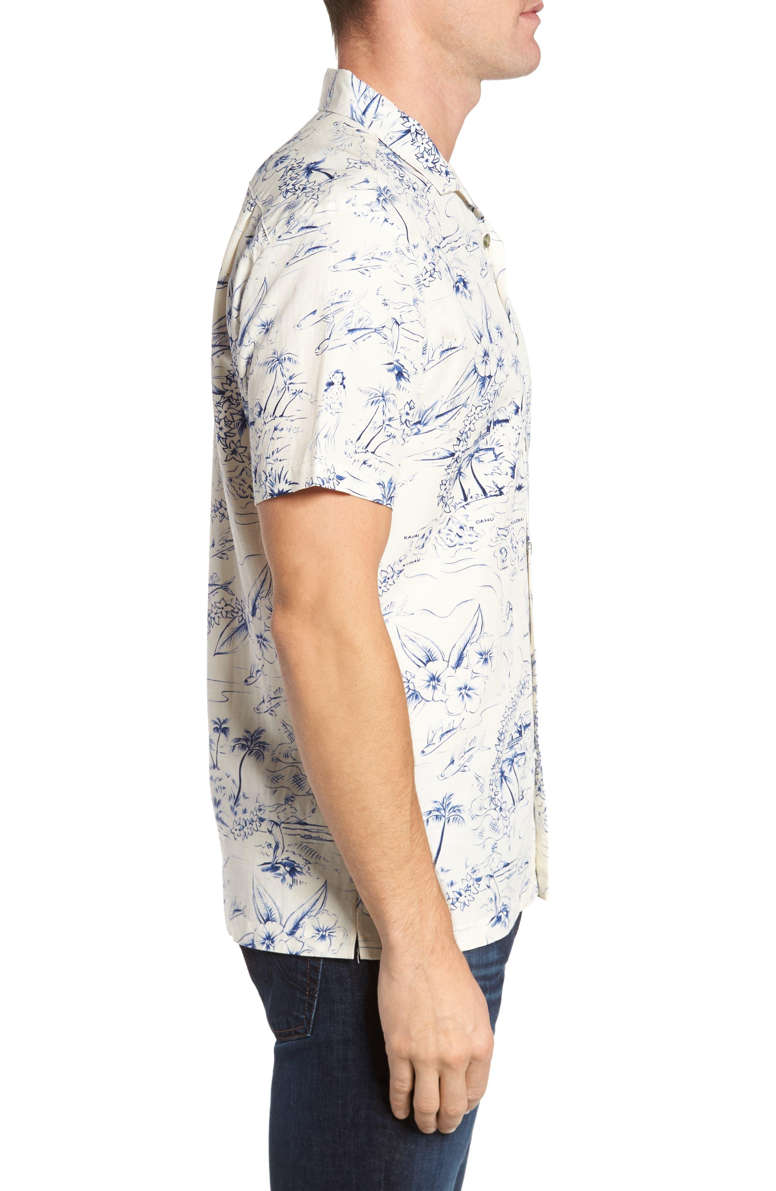 Konohiki Slim Fit Print Sport Shirt,                             Alternate thumbnail 3, color,                             102