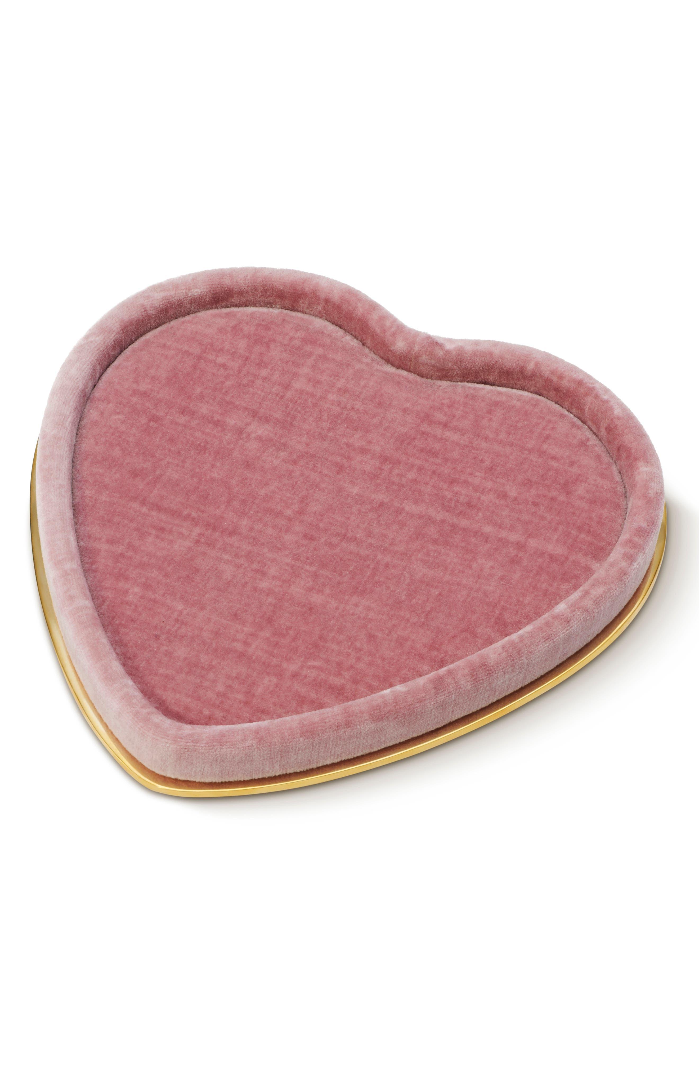 Valentina Velvet Heart Tray,                             Main thumbnail 1, color,                             DUSTY ROSE