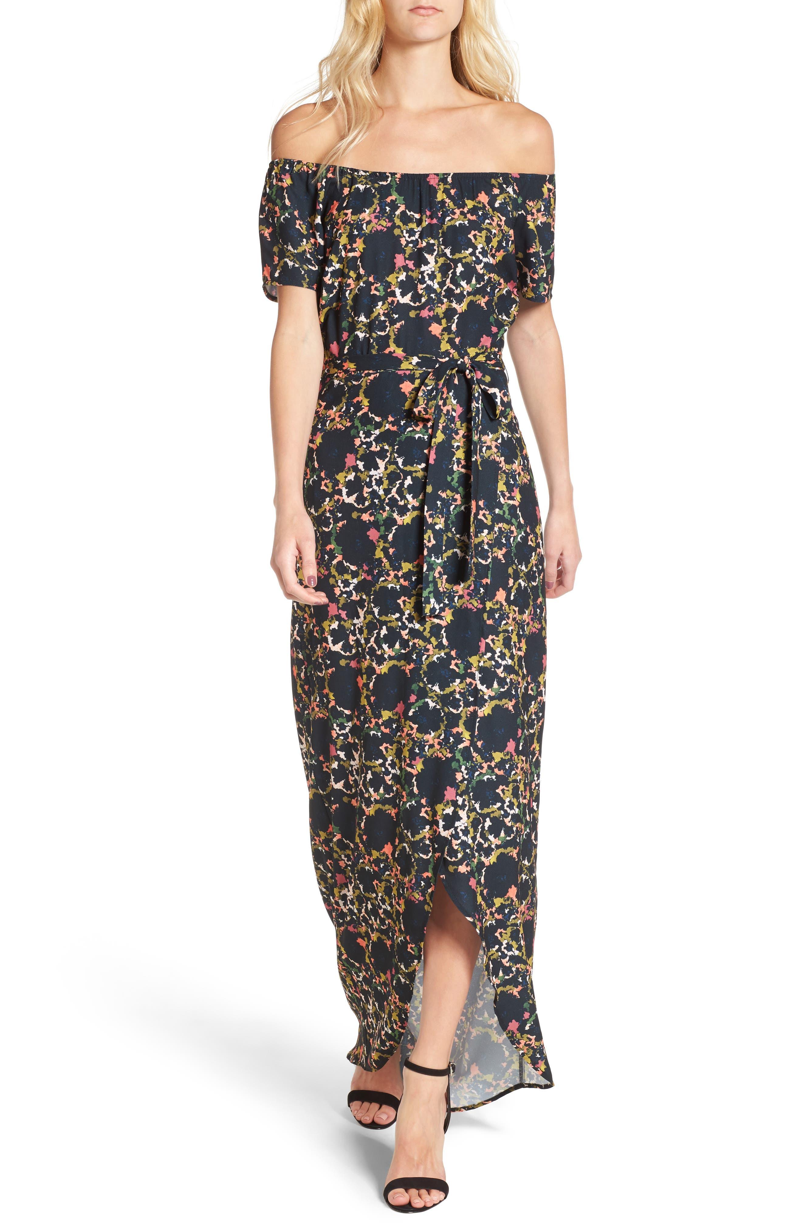 Off the Shoulder Crepe Maxi Dress,                         Main,                         color,