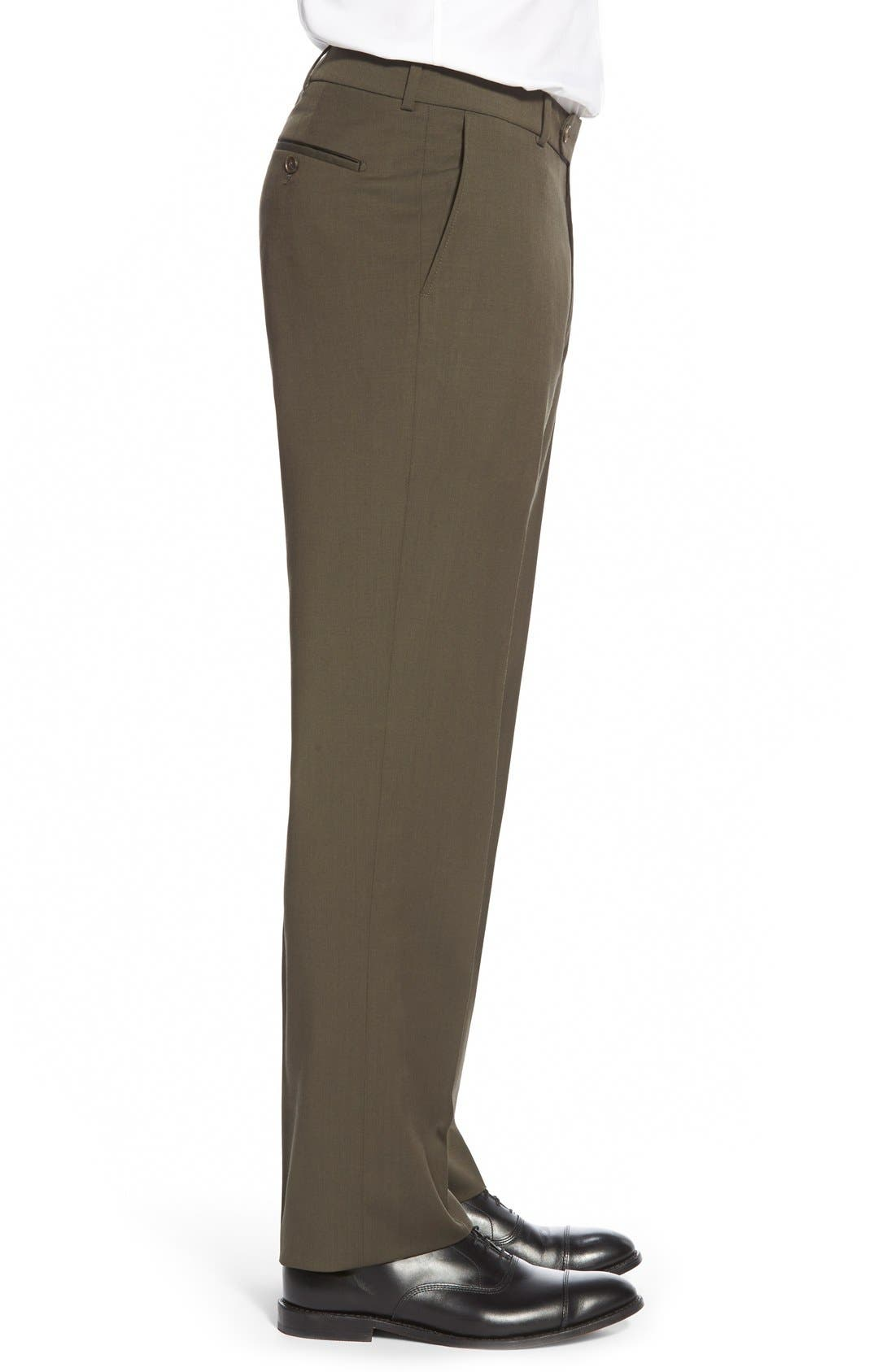 Flat Front Solid Wool Trousers,                             Alternate thumbnail 54, color,