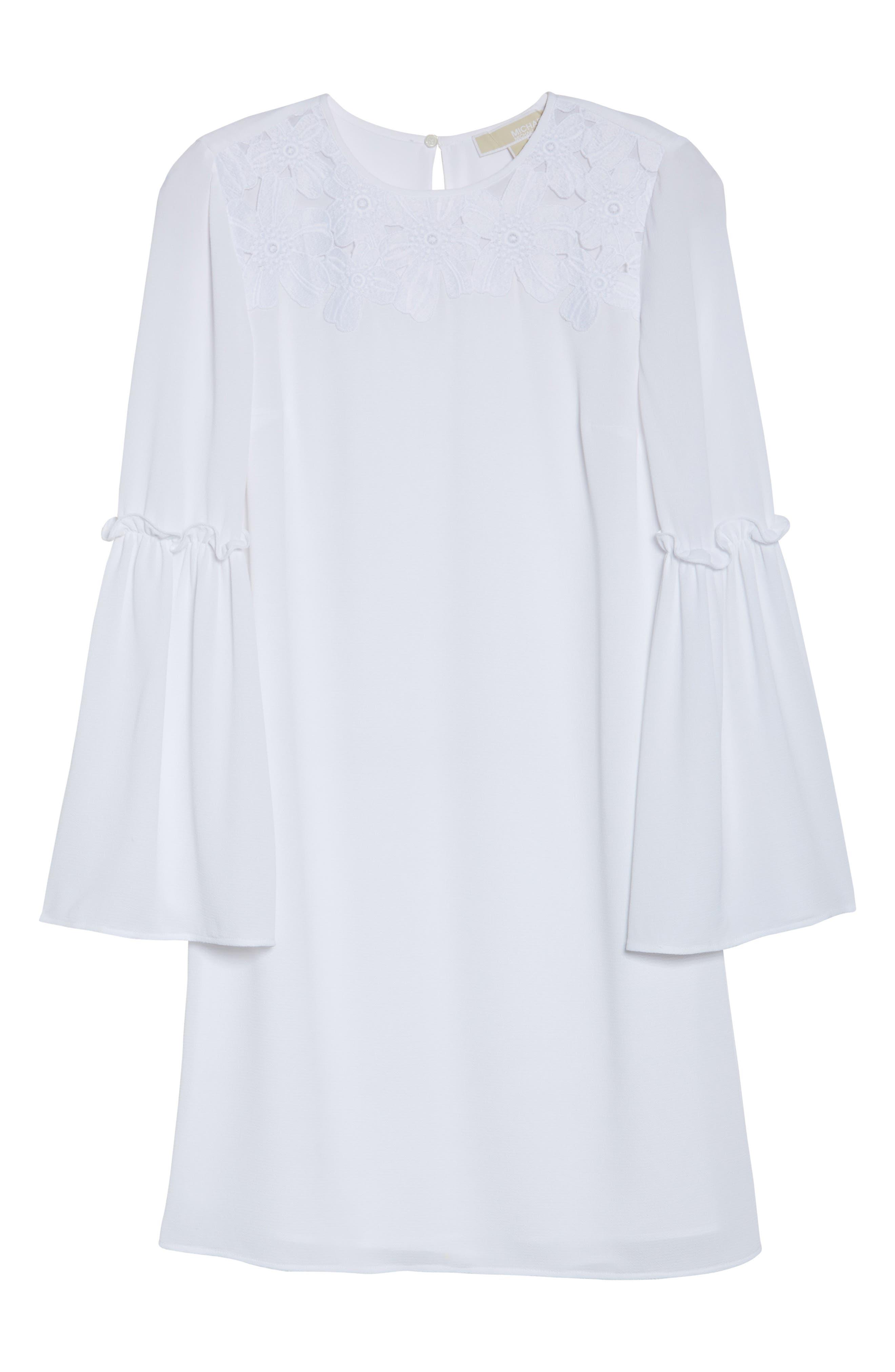 Lace Appliqué Bell Sleeve Dress,                             Alternate thumbnail 6, color,                             100
