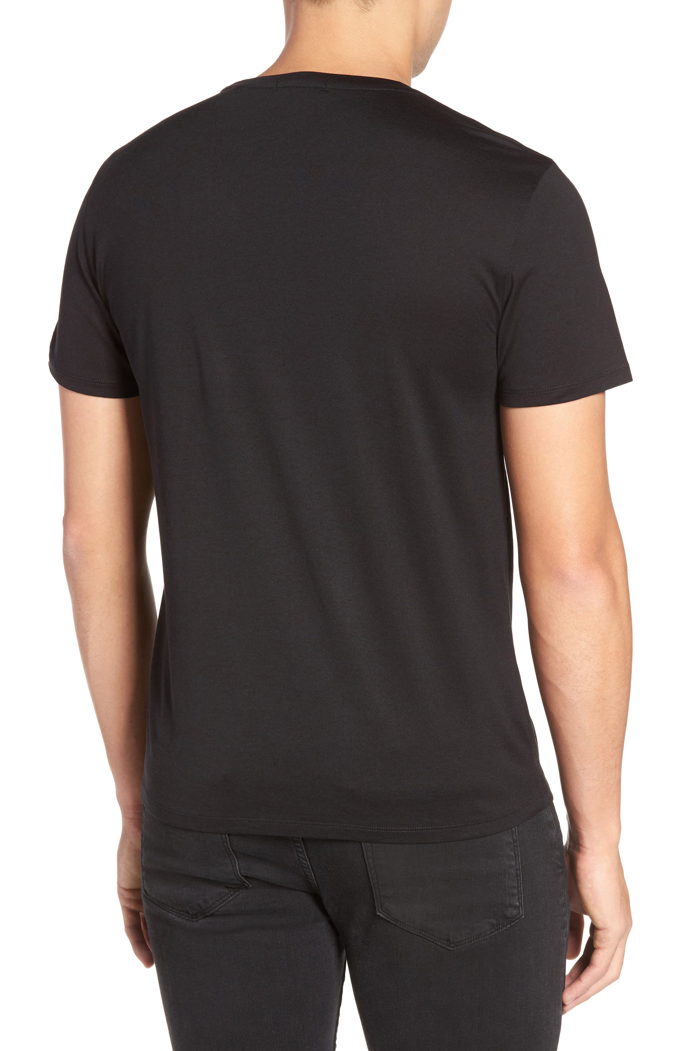 Silk & Cotton Crewneck T-Shirt,                             Alternate thumbnail 2, color,                             001