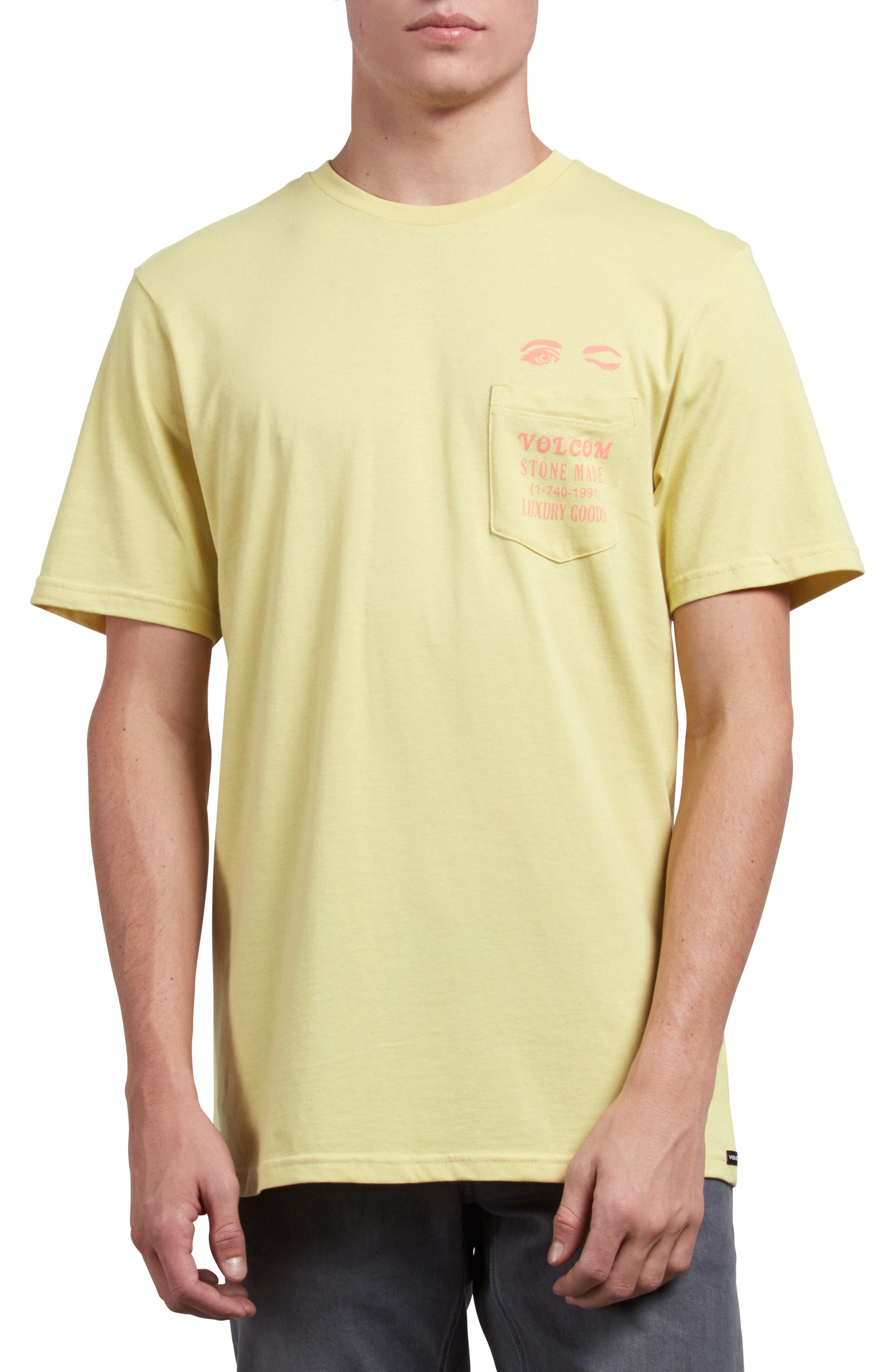 Luxxxury Graphic Pocket T-Shirt,                             Main thumbnail 1, color,                             ACID YELLOW