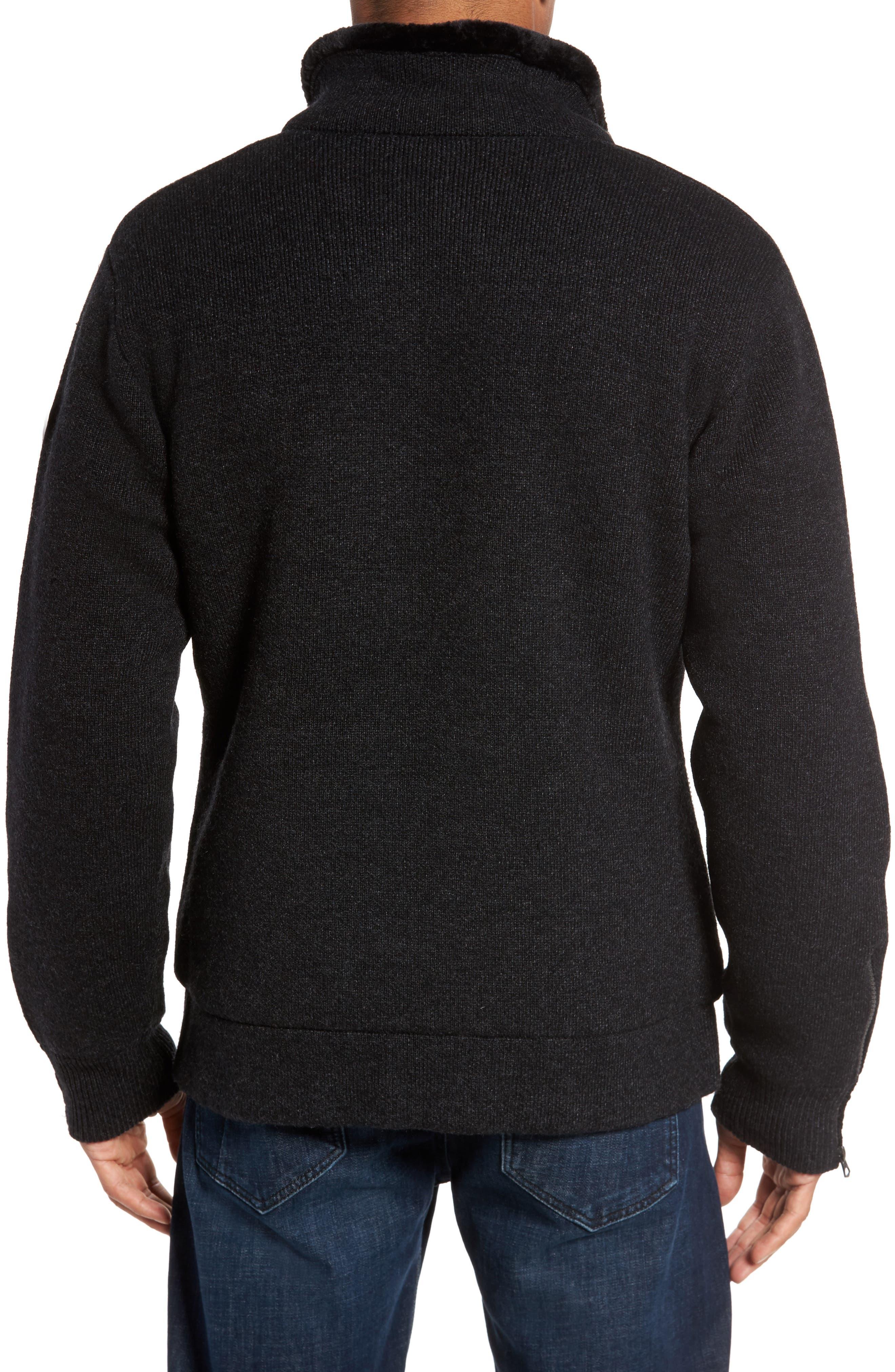 Caf Faux Fur Lined Sweater Jacket,                             Alternate thumbnail 2, color,                             BLACK
