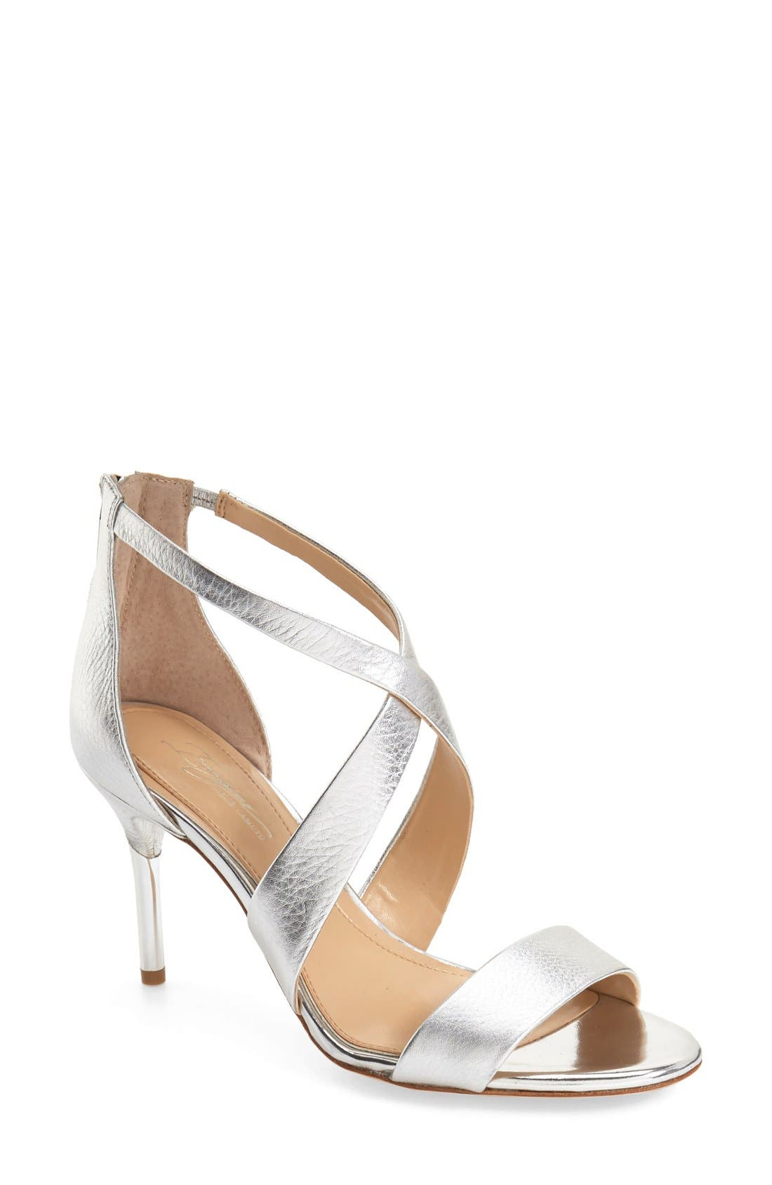 'Pascal 2' Strappy Evening Sandal,                             Main thumbnail 1, color,                             PLATINUM LEATHER