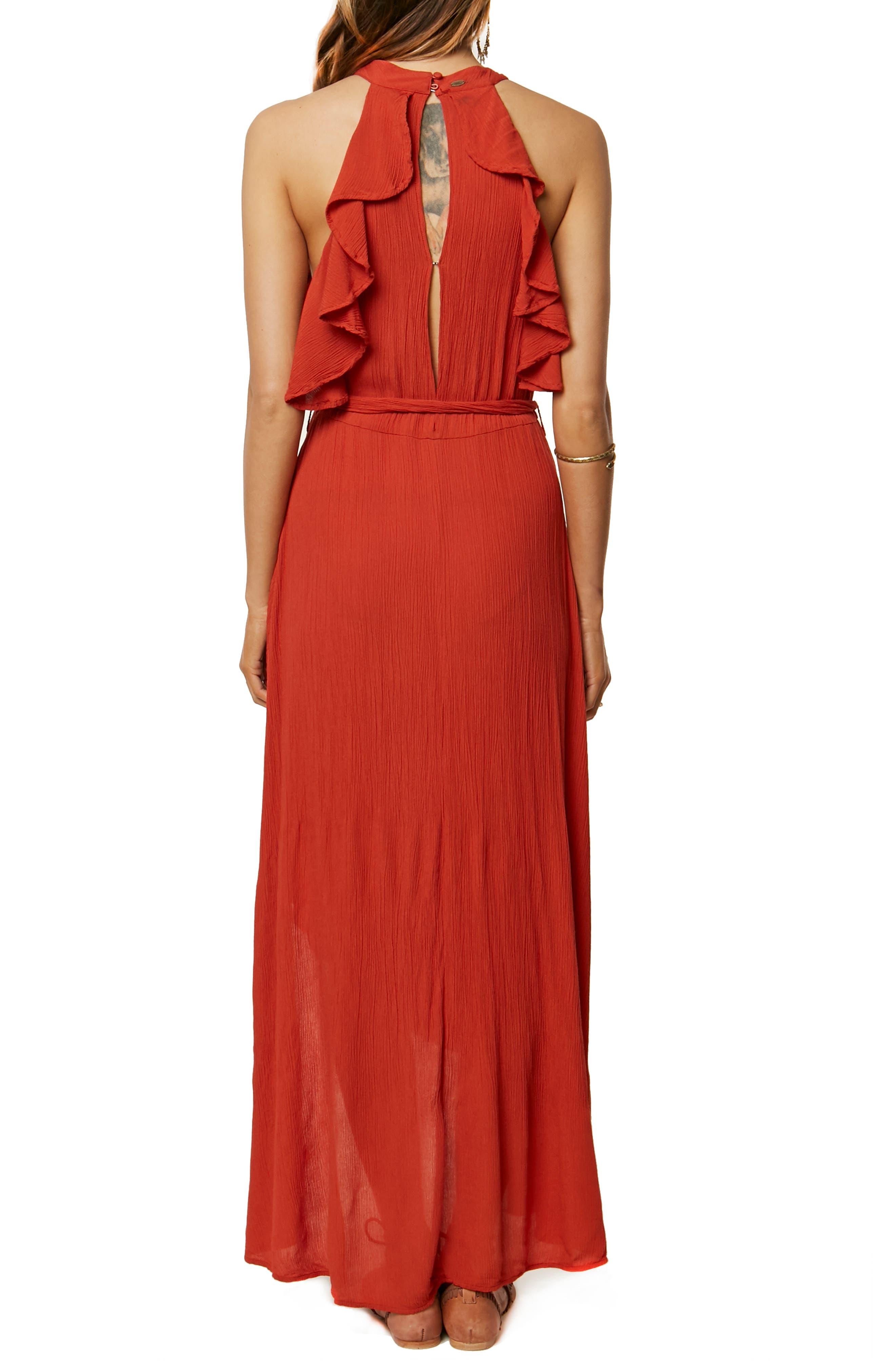 Misty Ruffle Asymmetrical Maxi Dress,                             Alternate thumbnail 2, color,                             TABASCO