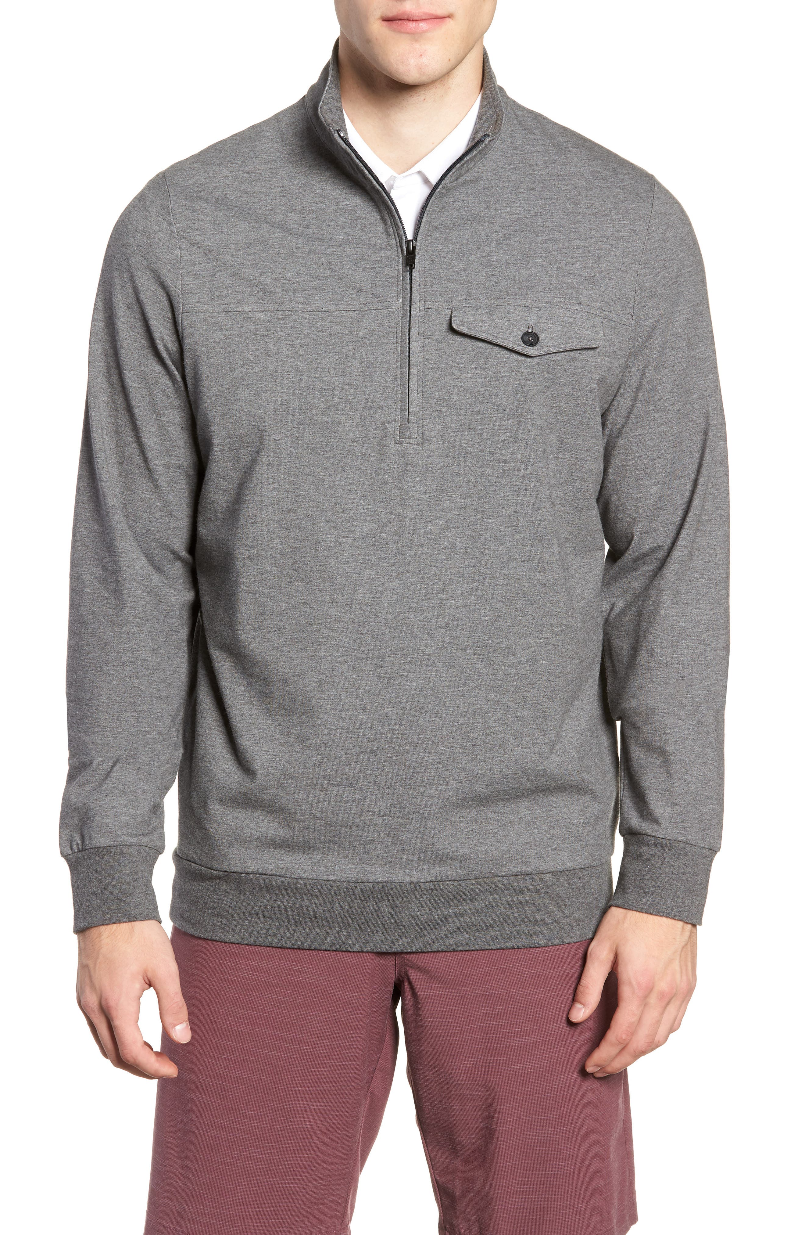 The 805 Half Zip Pullover,                             Main thumbnail 1, color,                             HEATHER DARK SHADOW