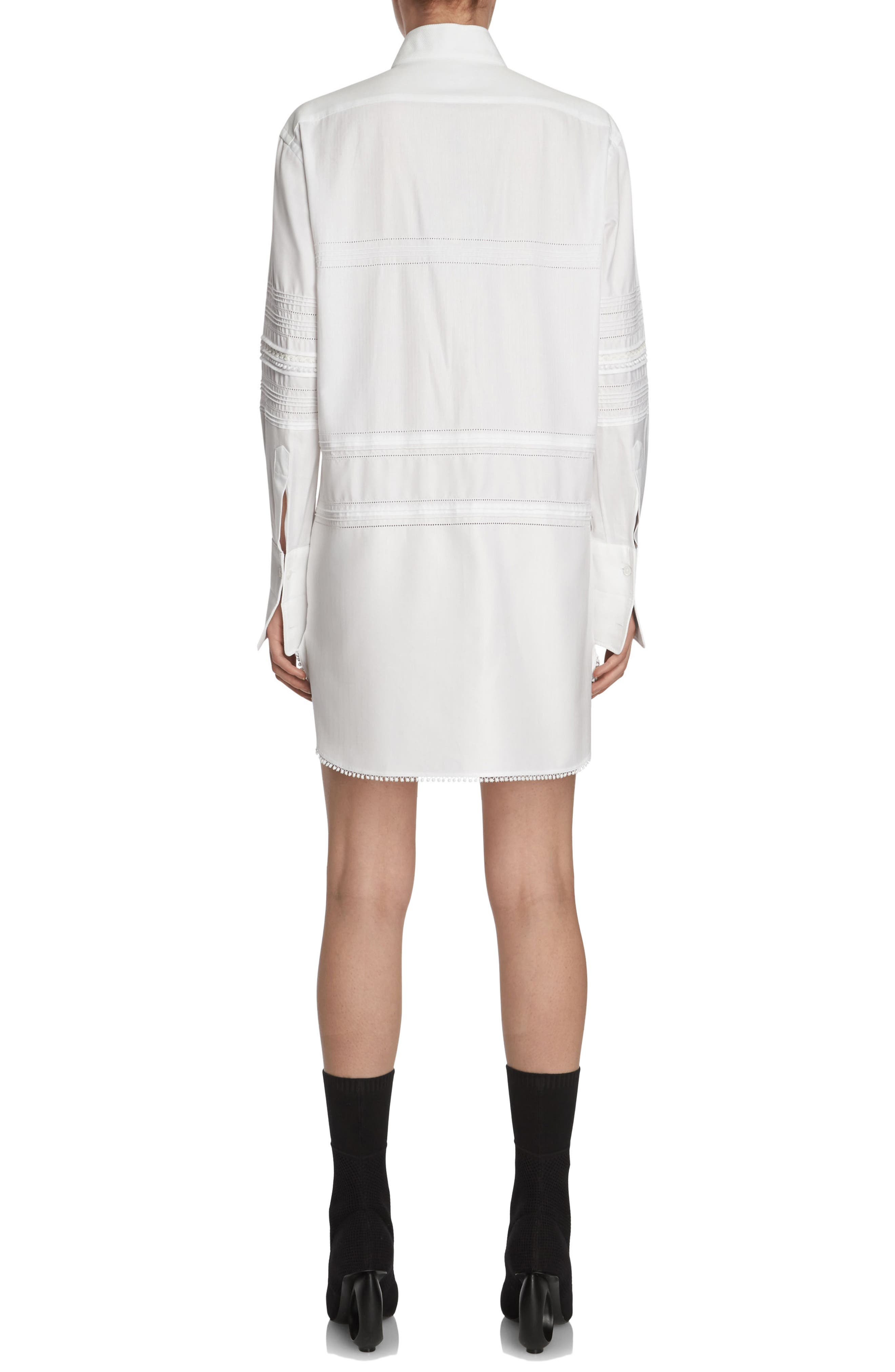 Pintuck Cotton Shirtdress,                             Alternate thumbnail 2, color,                             100