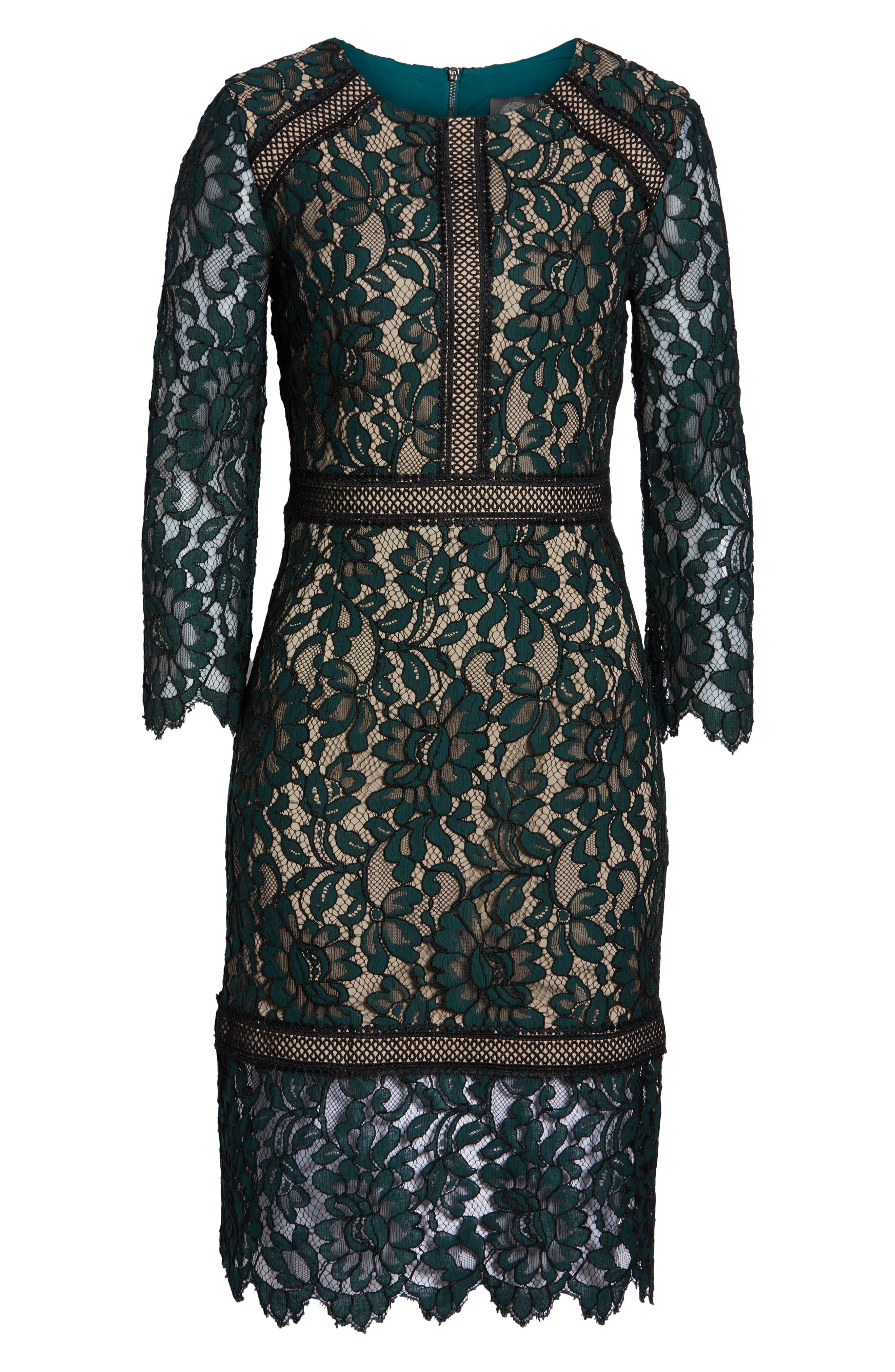 Lace Sheath Dress,                             Alternate thumbnail 7, color,                             GREEN