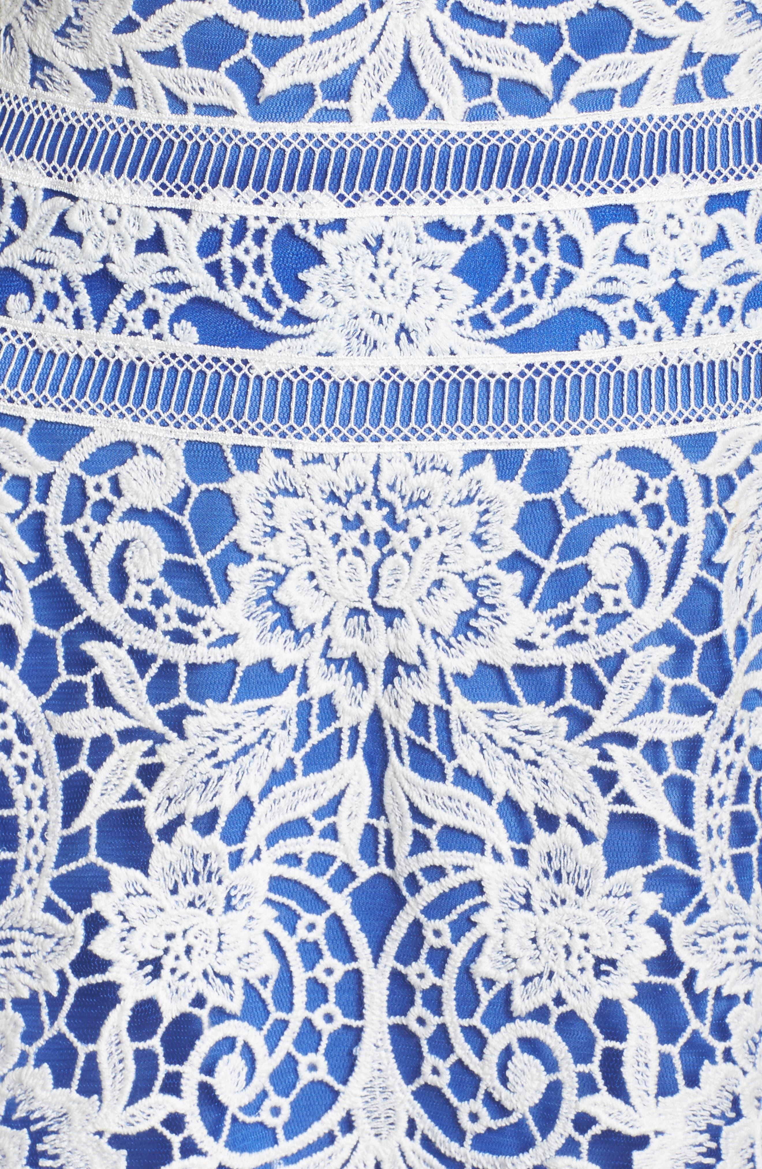Illusion Neck Crochet Lace Dress,                             Alternate thumbnail 5, color,                             431