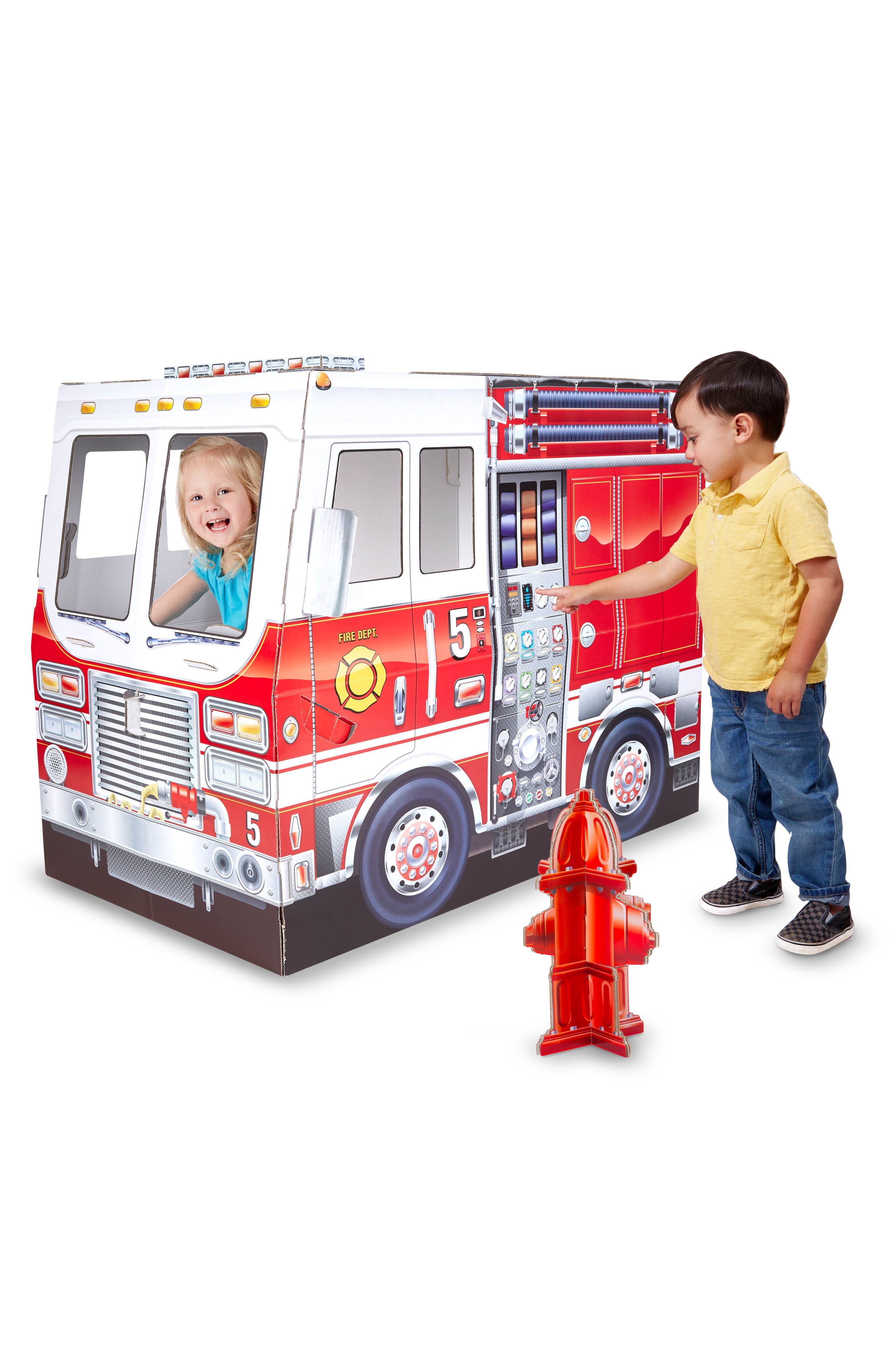 MELISSA & DOUG,                             Indoor Fire Truck Playhouse,                             Alternate thumbnail 4, color,                             RED