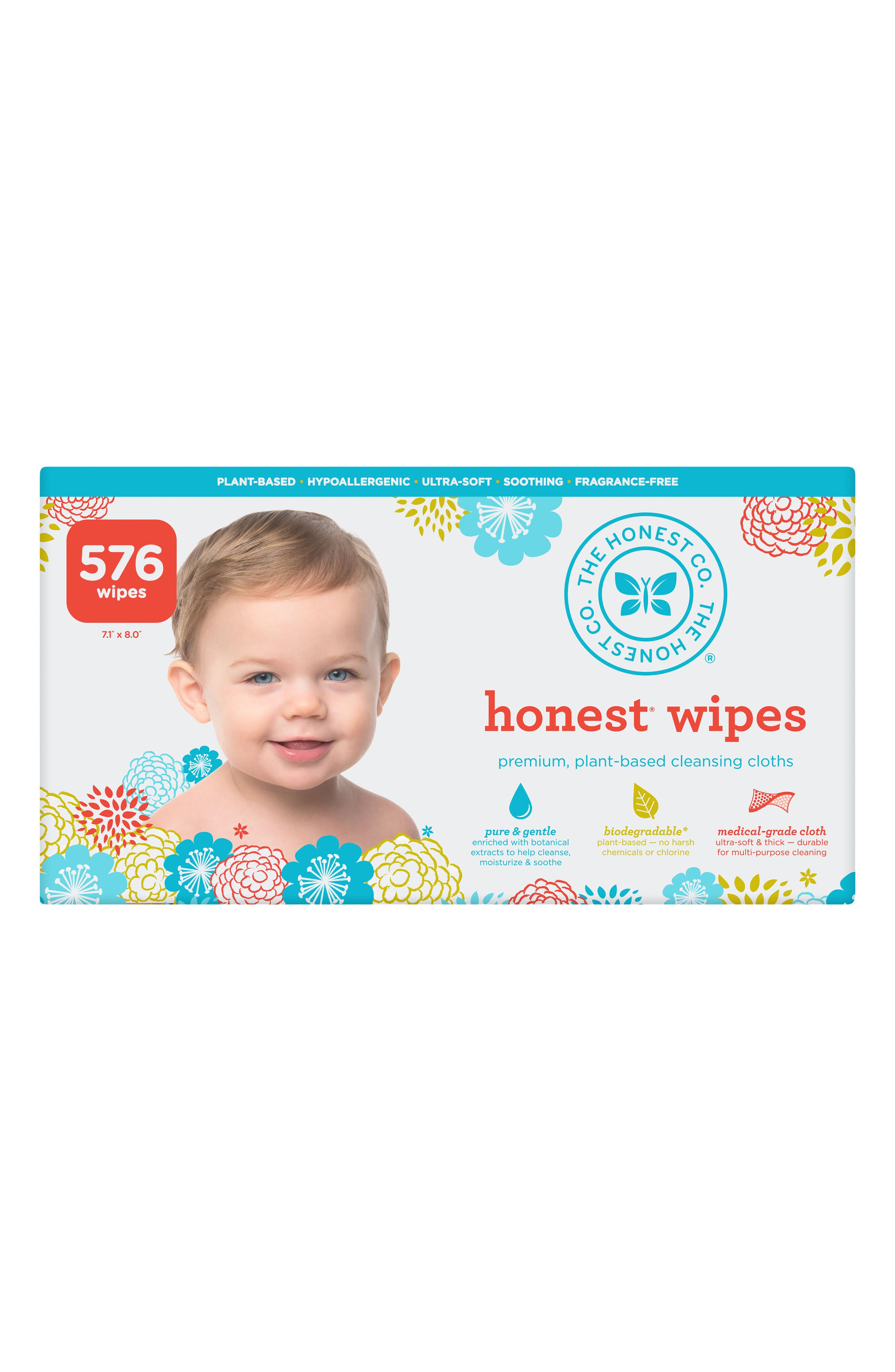8-Pack Cloth Baby Wipes,                         Main,                         color, HONEST FLORAL