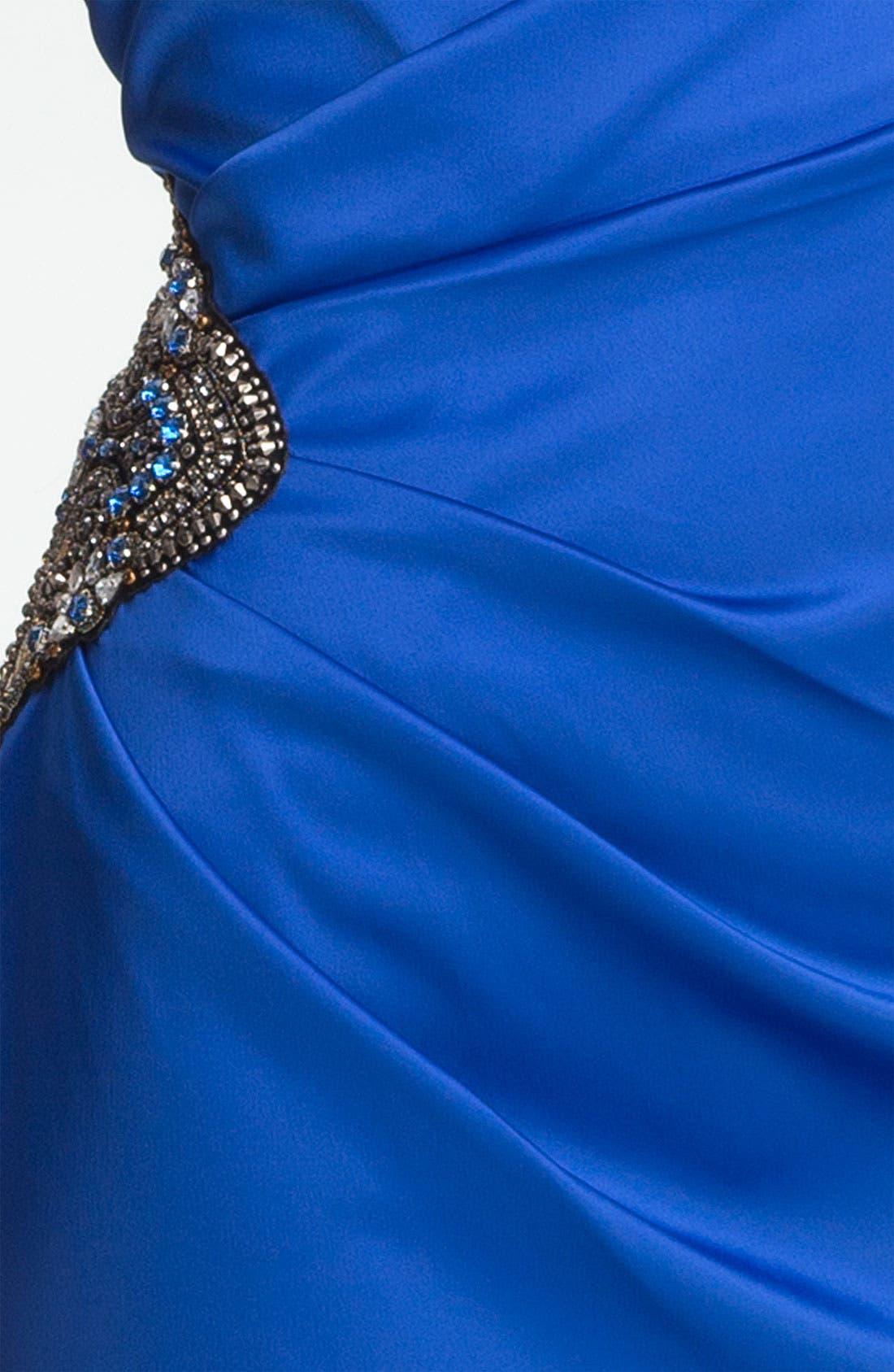 Beaded One-Shoulder Satin Dress,                             Alternate thumbnail 10, color,